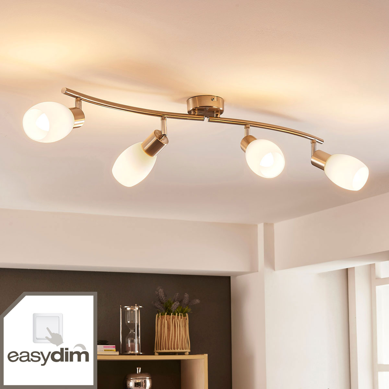 LEDplafondlamp Arda met vier lampjes, easydim