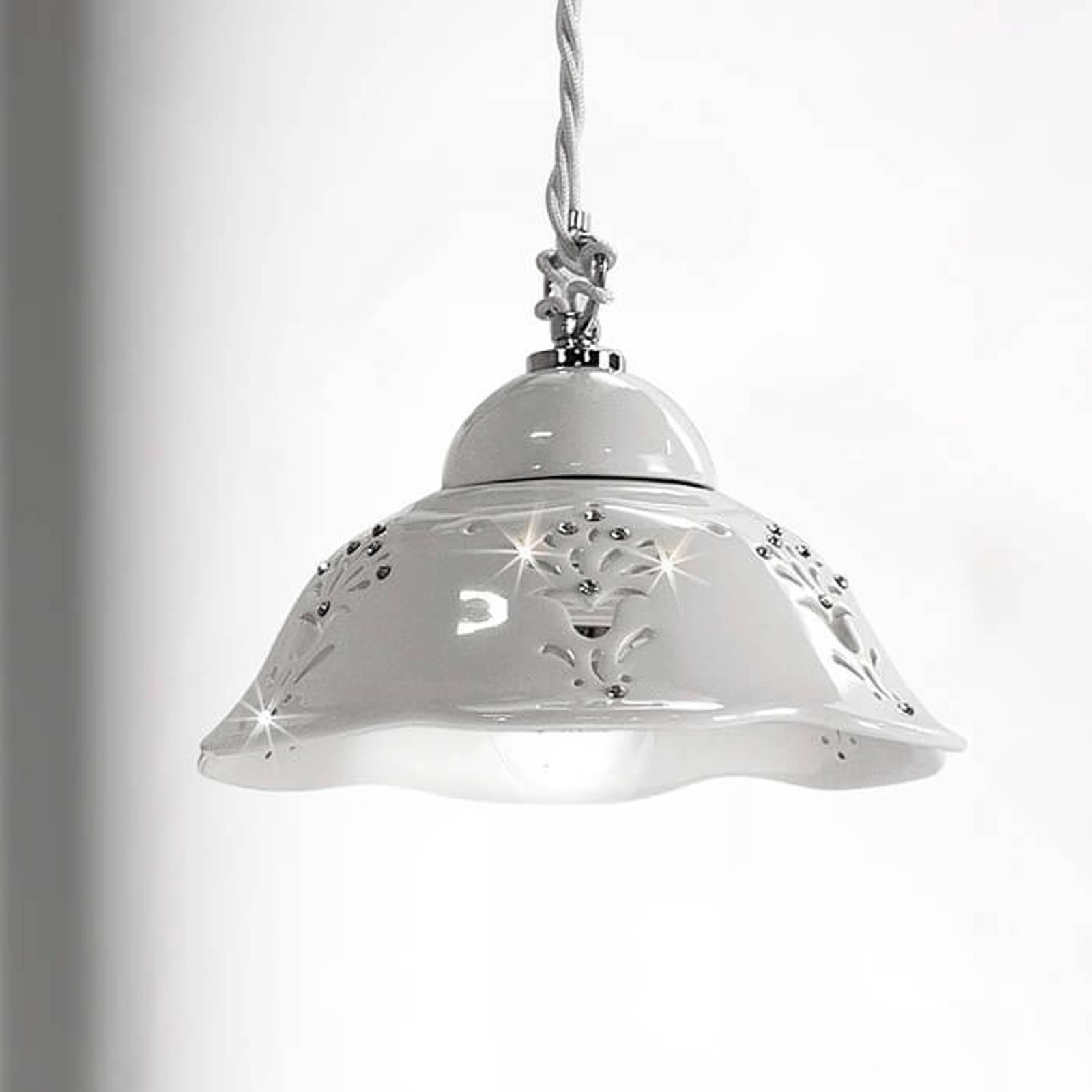 Lampa wisząca Guiliano, ceramiczny klosz, 20,5 cm