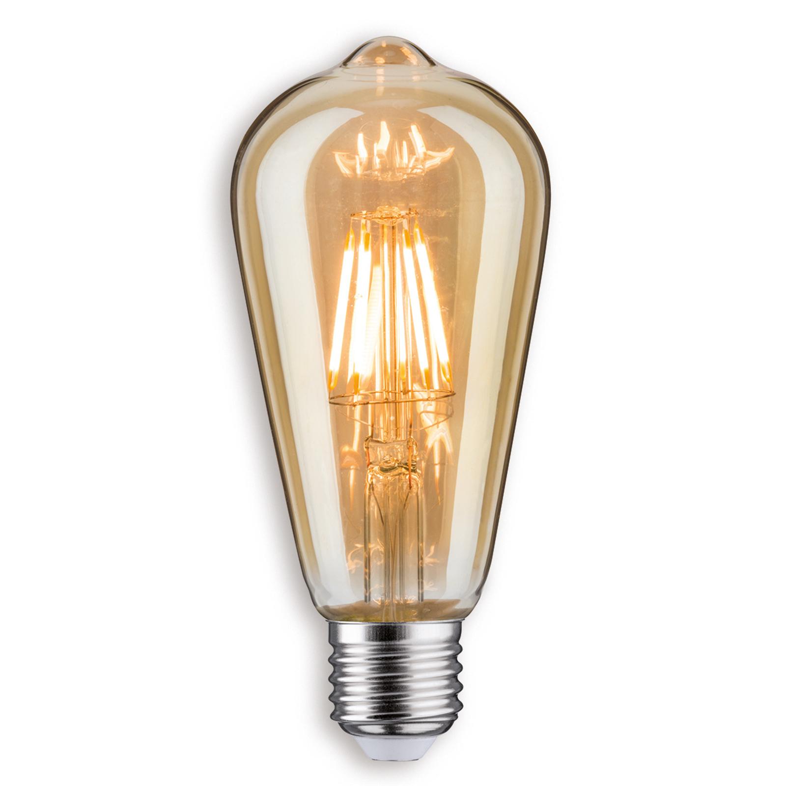E27 7,5W LED-rustikallampe i gull