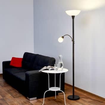 Rustfarvet LED-loftswasher Elaina med læselampe