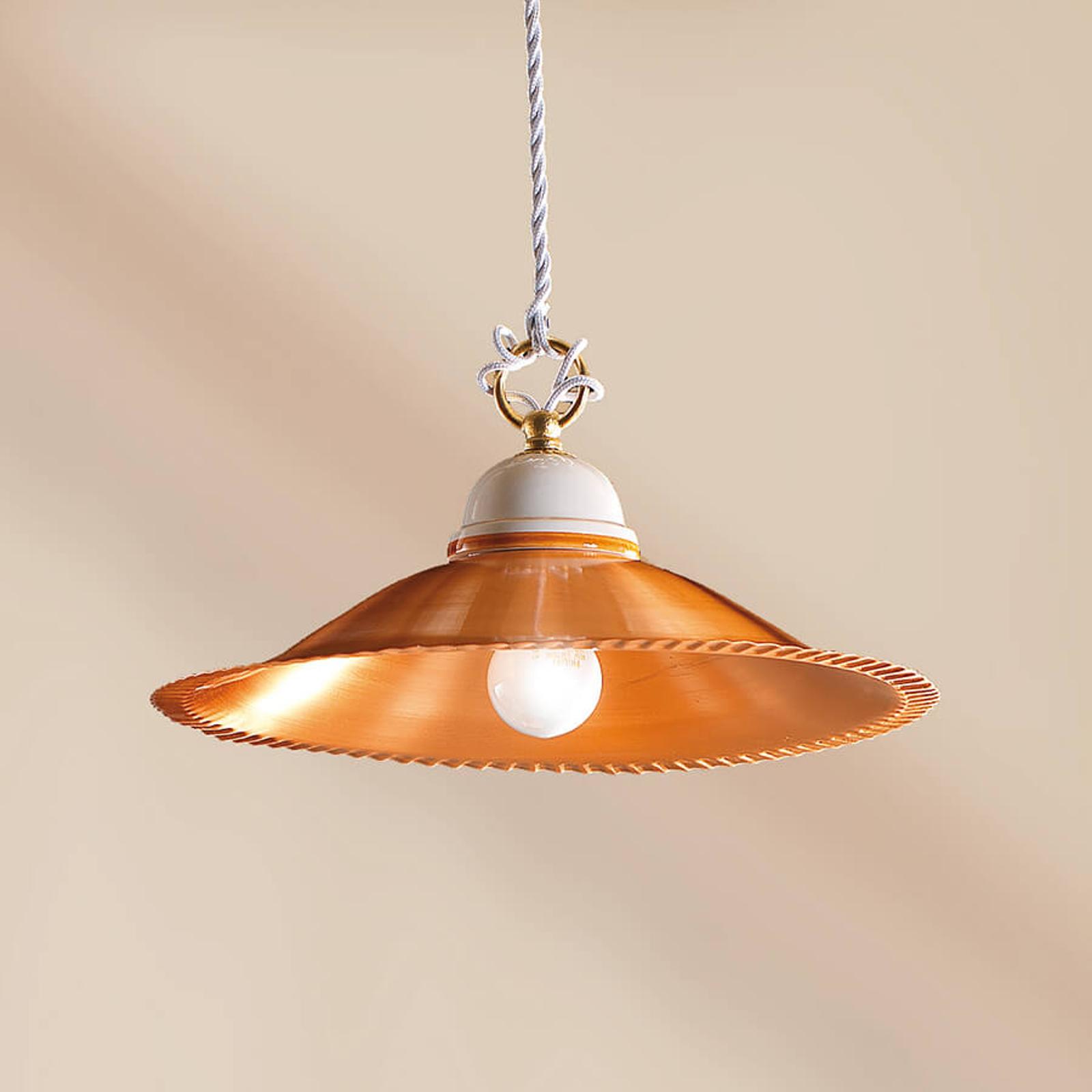 Luiza – klasyczna lampa wisząca, miedziany klosz