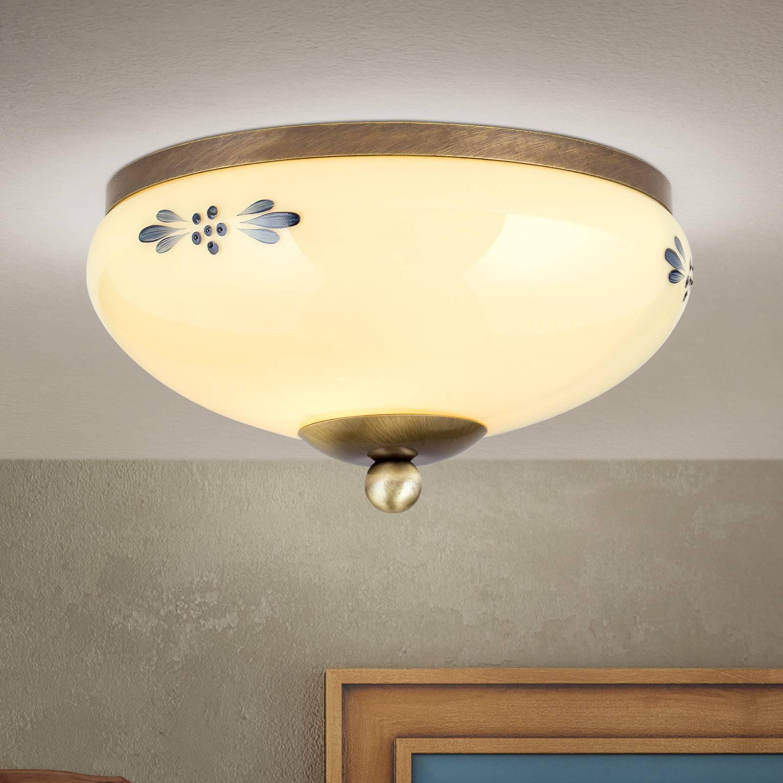 Lampa sufitowa Landhaus patyna niebieska Ø 21cm