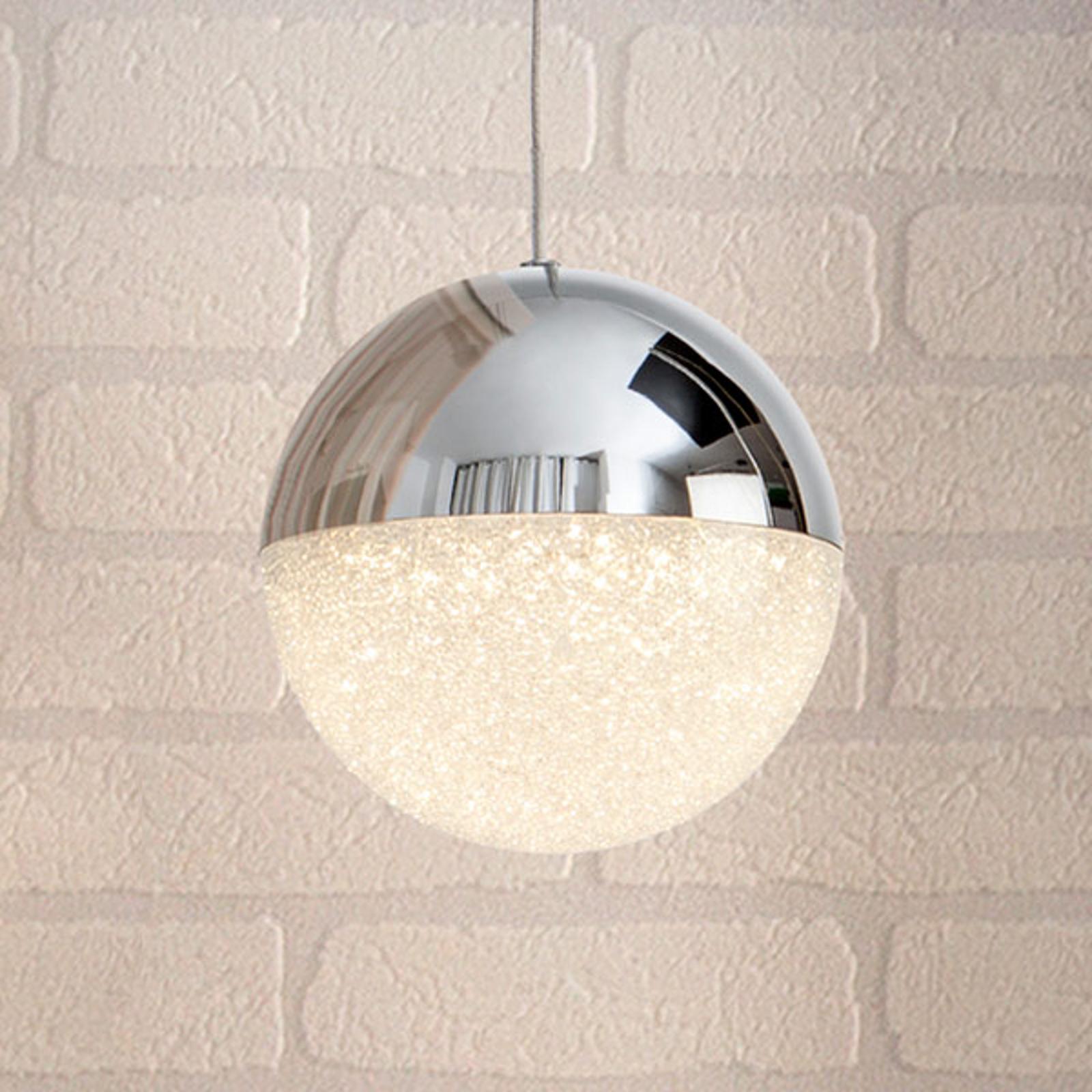 Suspension LED Sphere, chromé, à 1 lampe, Ø 12cm