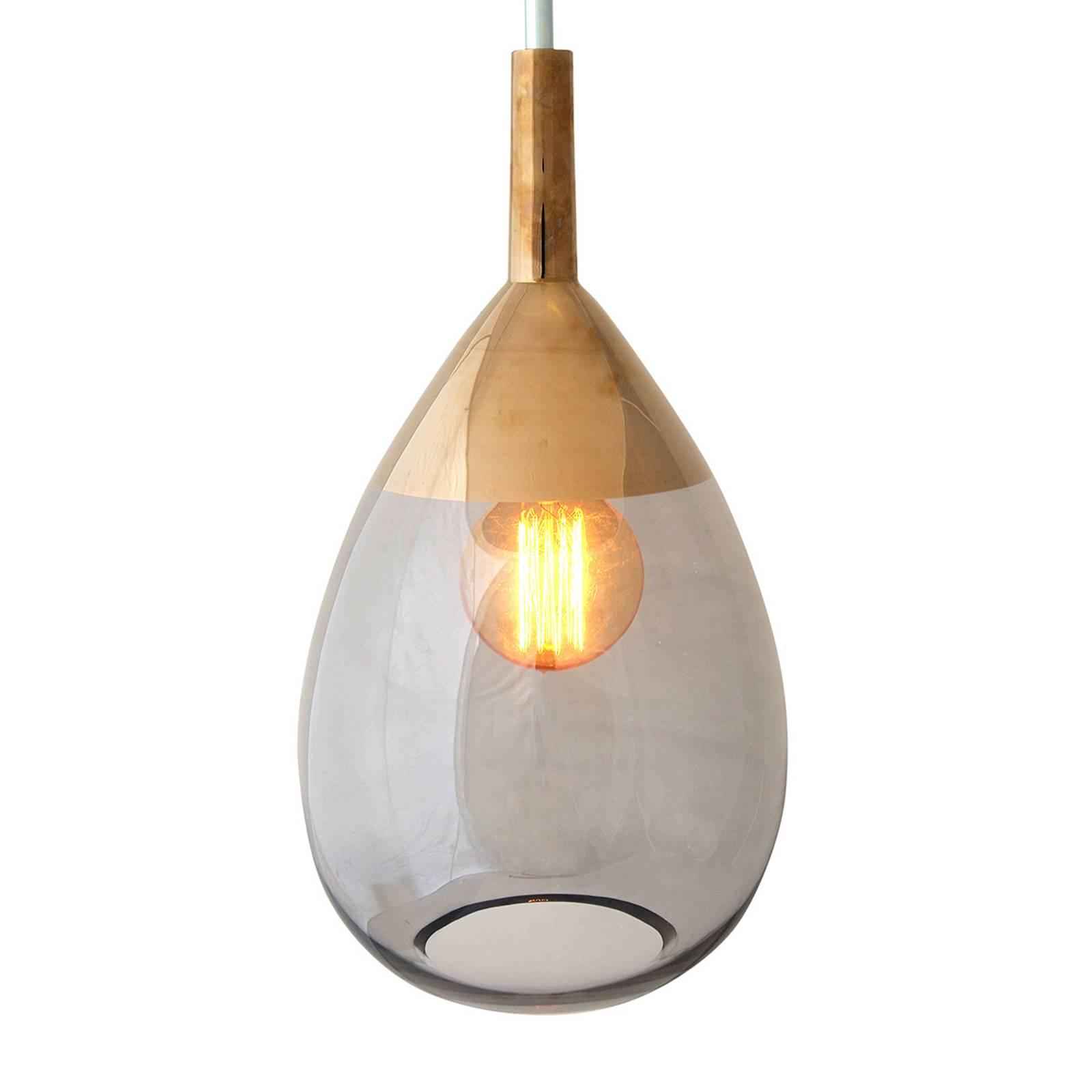 EBB & FLOW Lute hanglamp platina, glas grijs