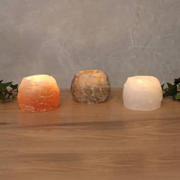 Te-ljushållare-Set Rock Trio av saltkristall