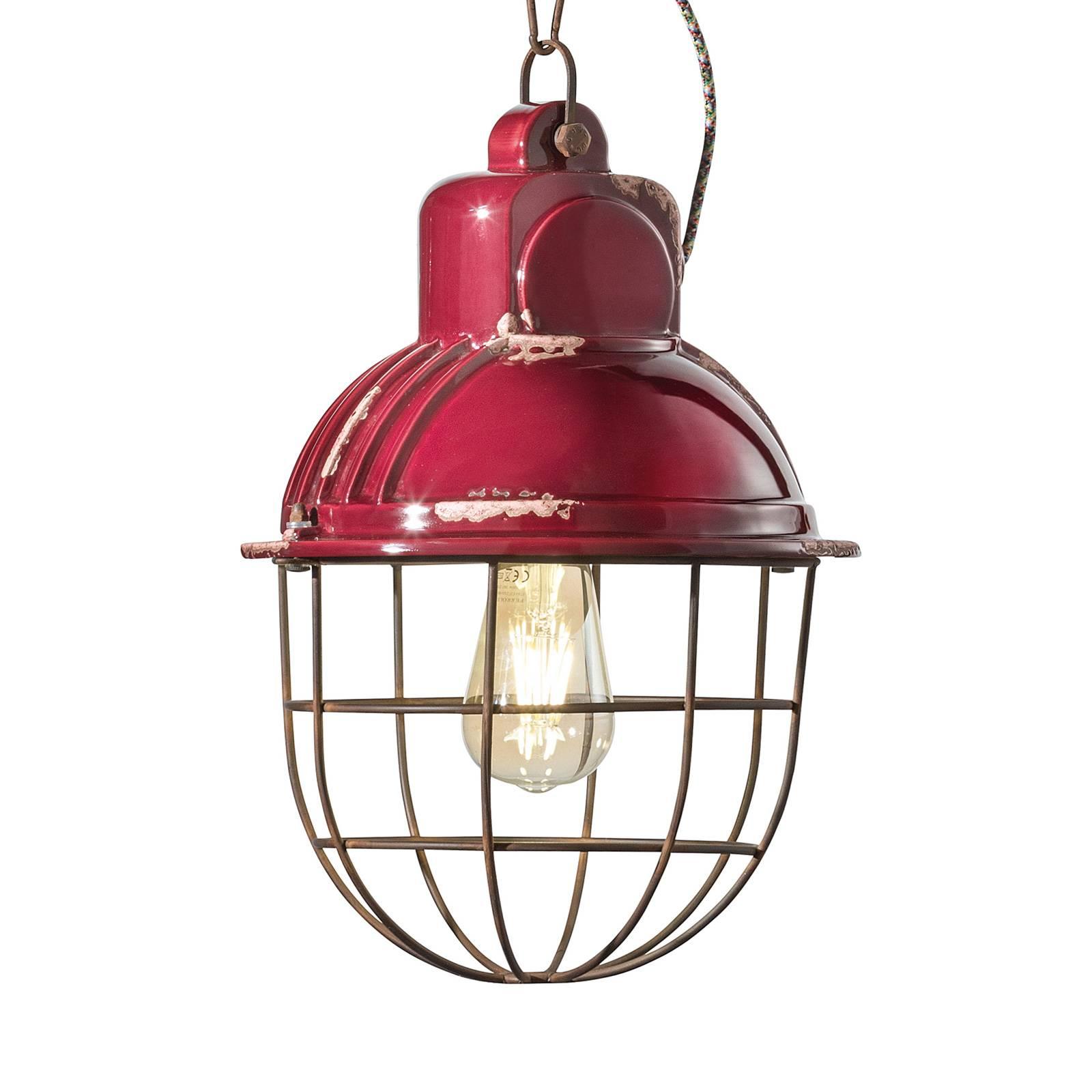 Hanglamp C1770 in industrieel ontwerp, bordeaux