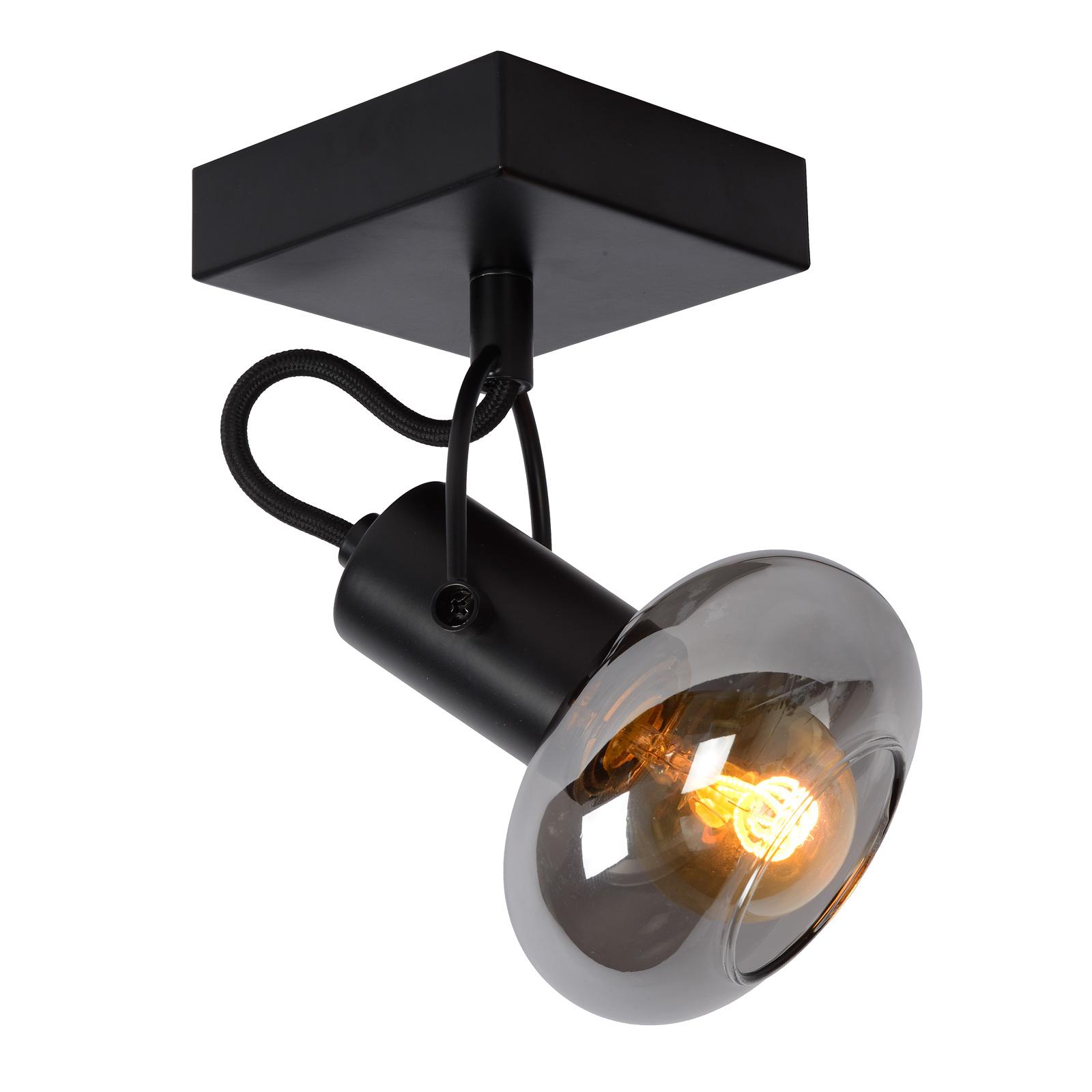 Faretto soffitto Madee nero/fumè, 1 luce