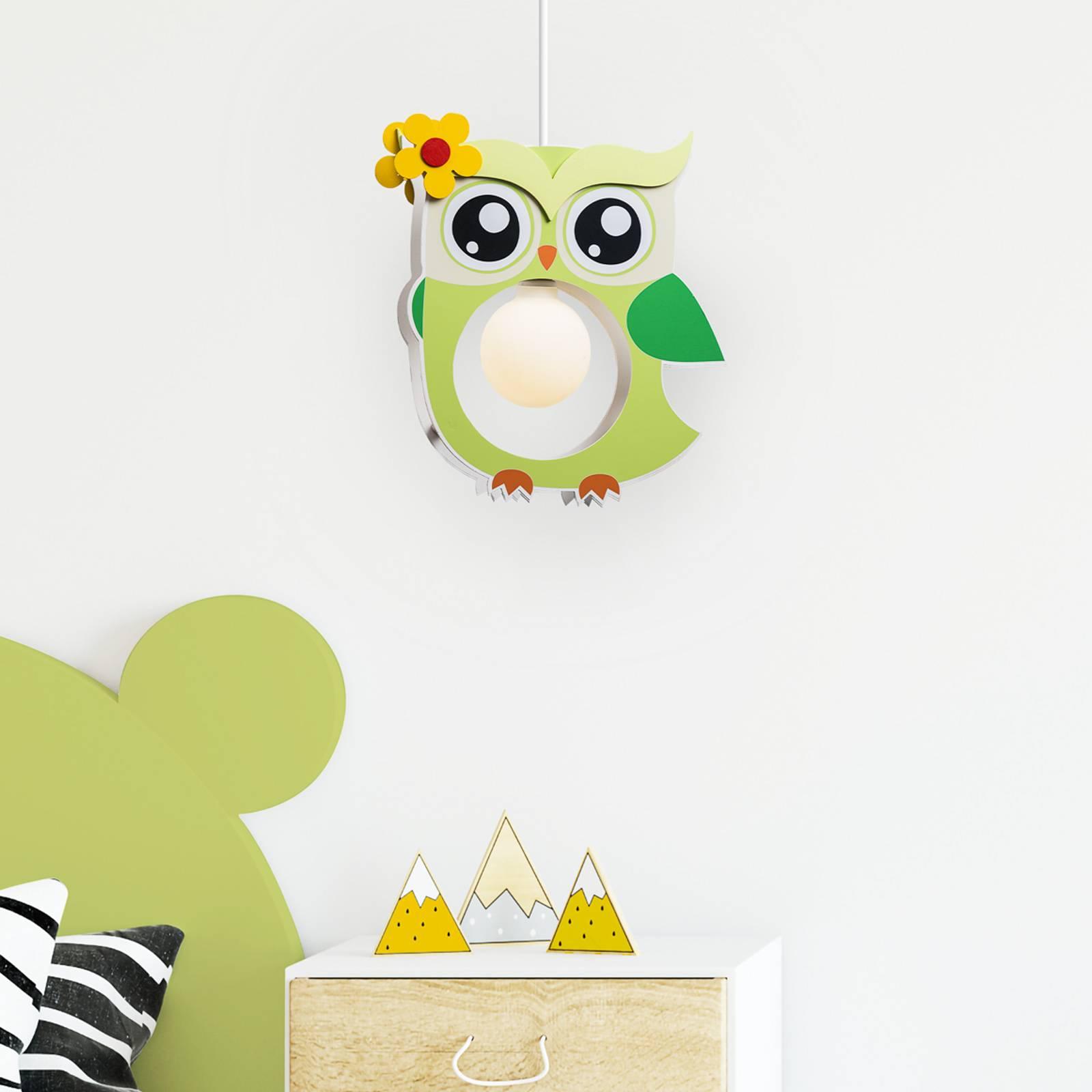 Zielona lampa wisząca Erna w kształcie sowy