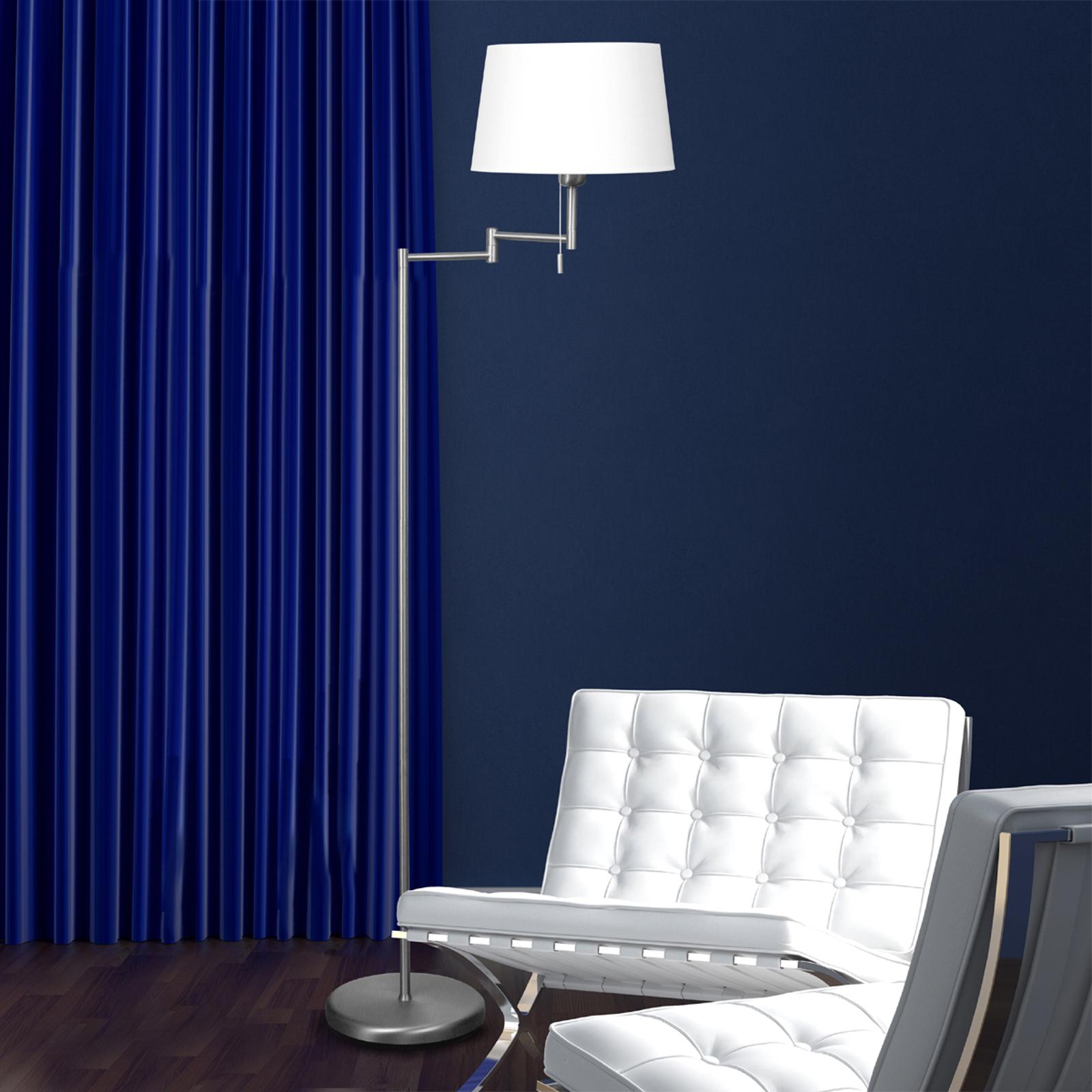 Srebrna lampa stojąca MEANDER z abażurem z tkaniny