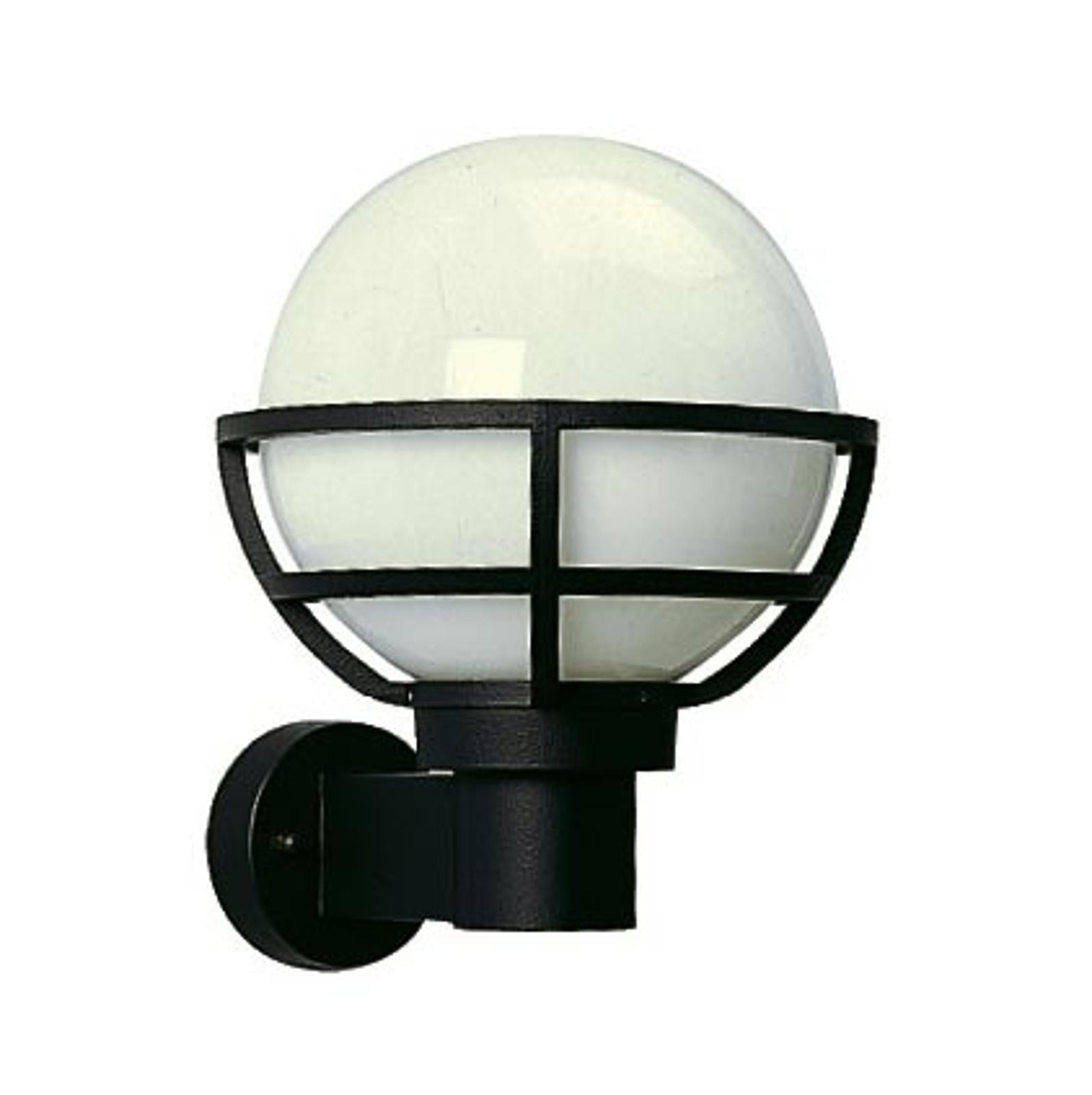 Zewnętrzna lampa ścienna czarna z mlecznym szkłem