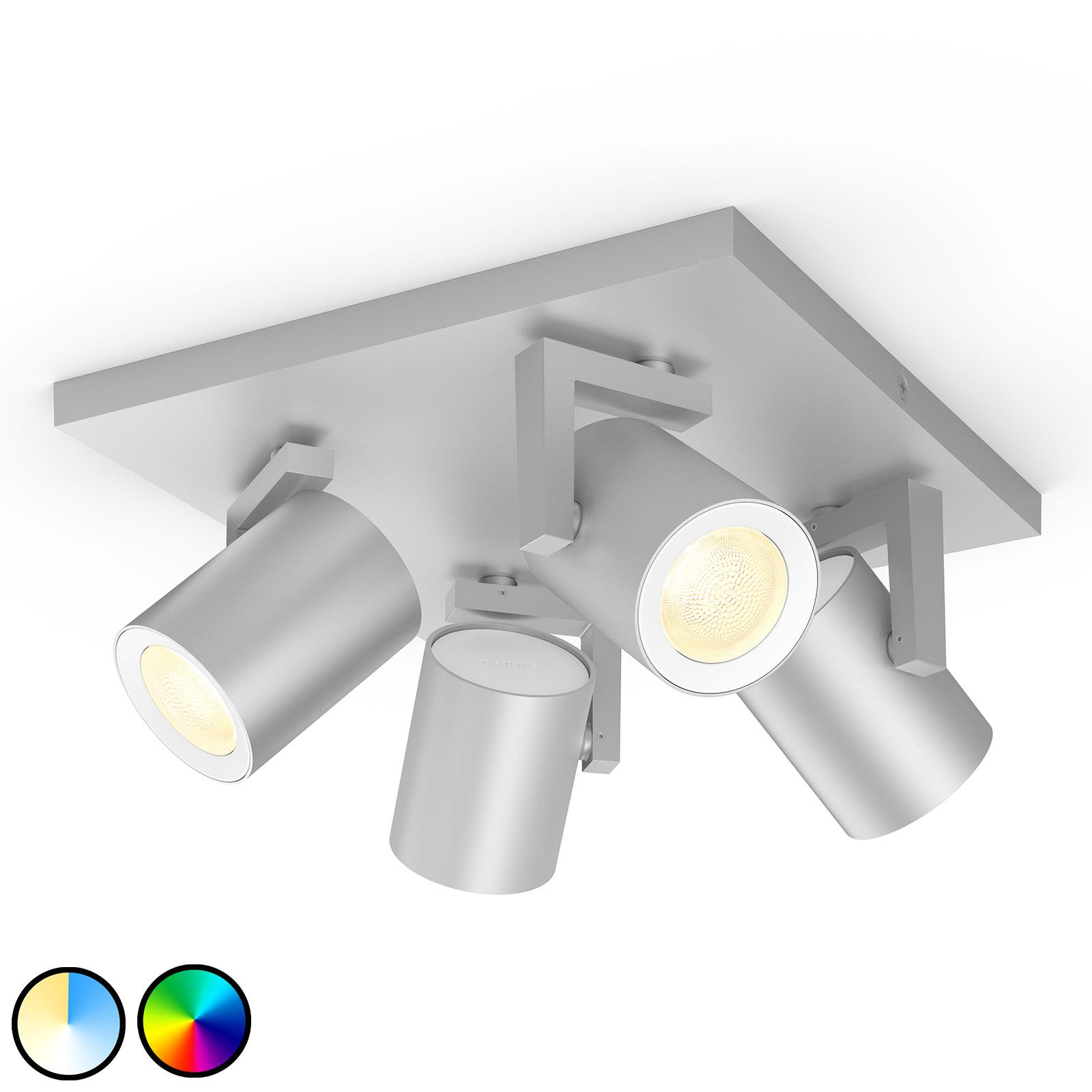 4-lamps Philips Hue Argenta LED spot aluminium