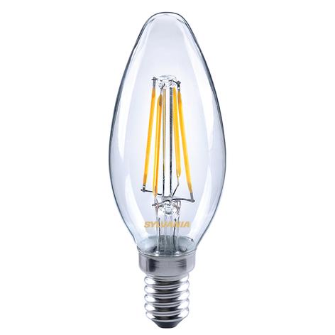 Bombilla vela LED E14 ToLEDo 4,5W 827 transparente