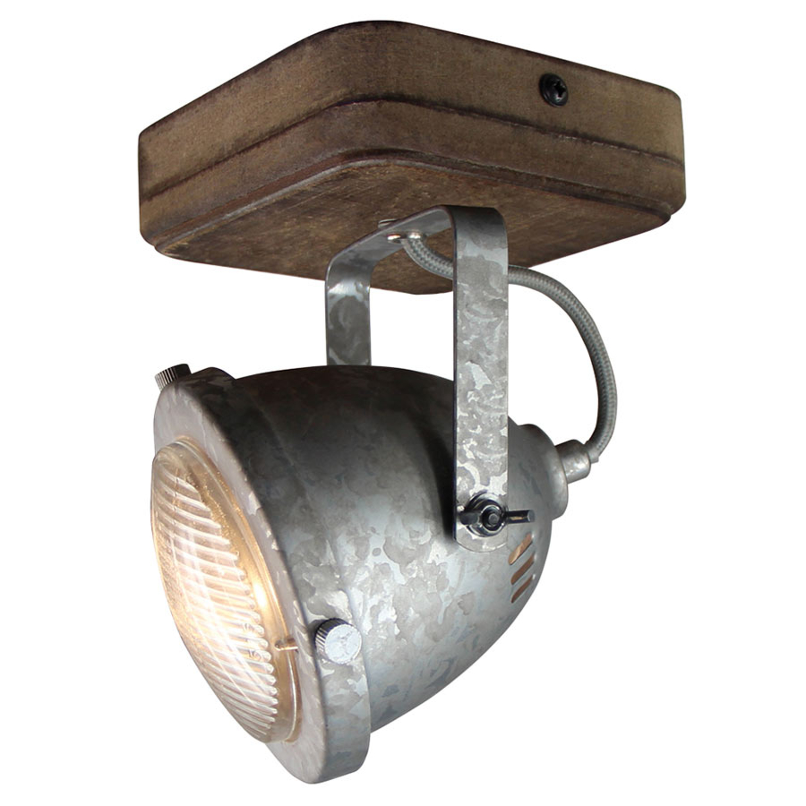Plafondlamp Woody, gegalvaniseerd, met één lampje