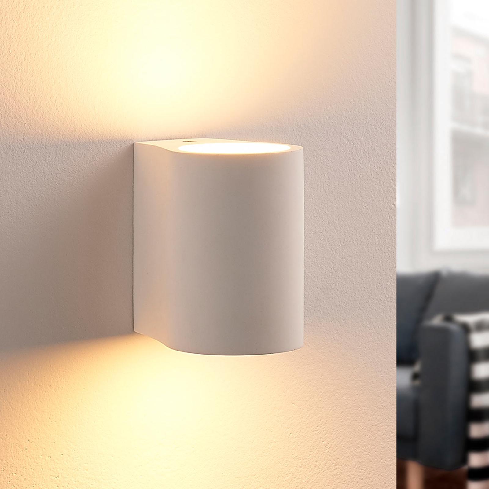 LED-Wandleuchte Jannes aus Gips, rund