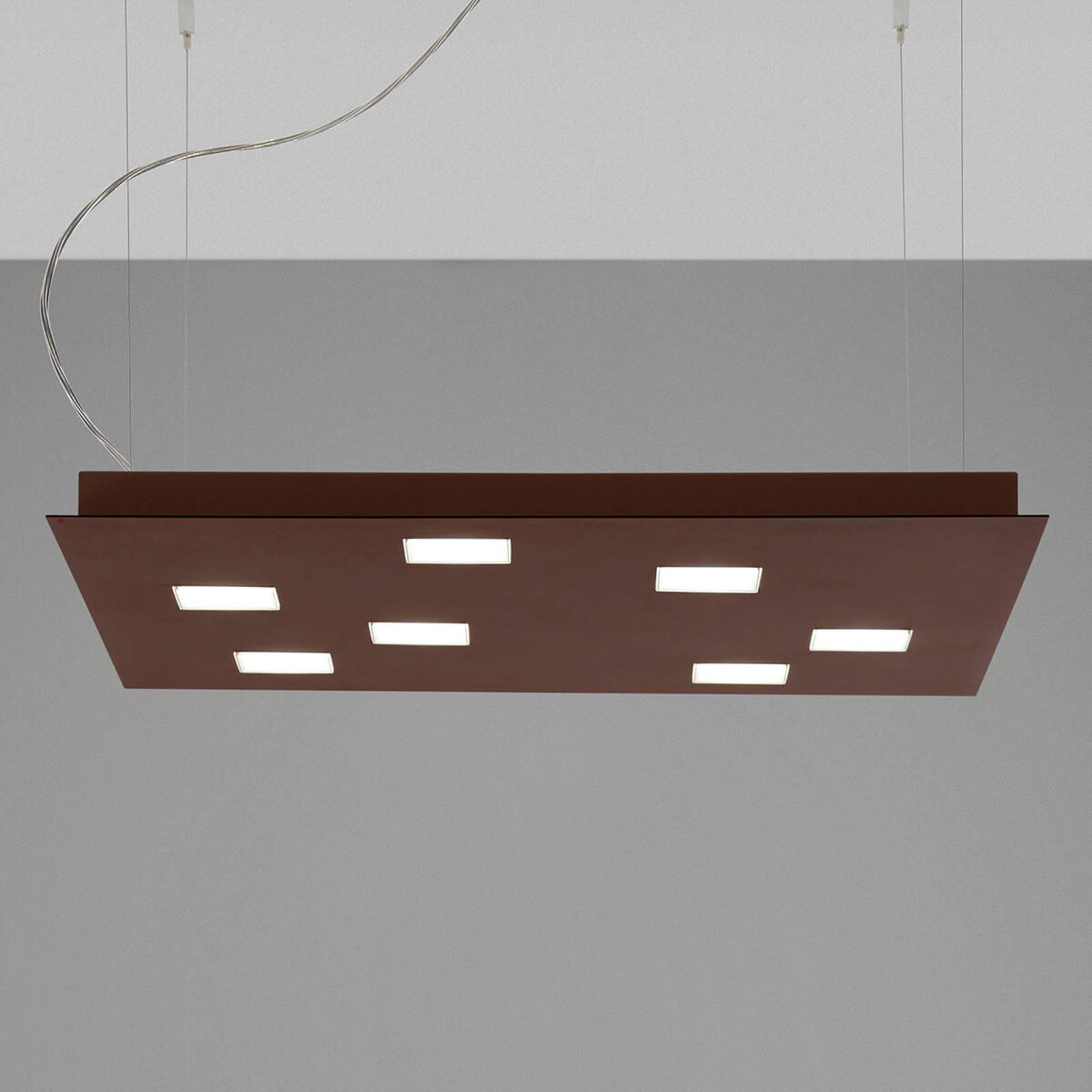 Kwadratowa lampa wisząca LED Quarter, brązowa