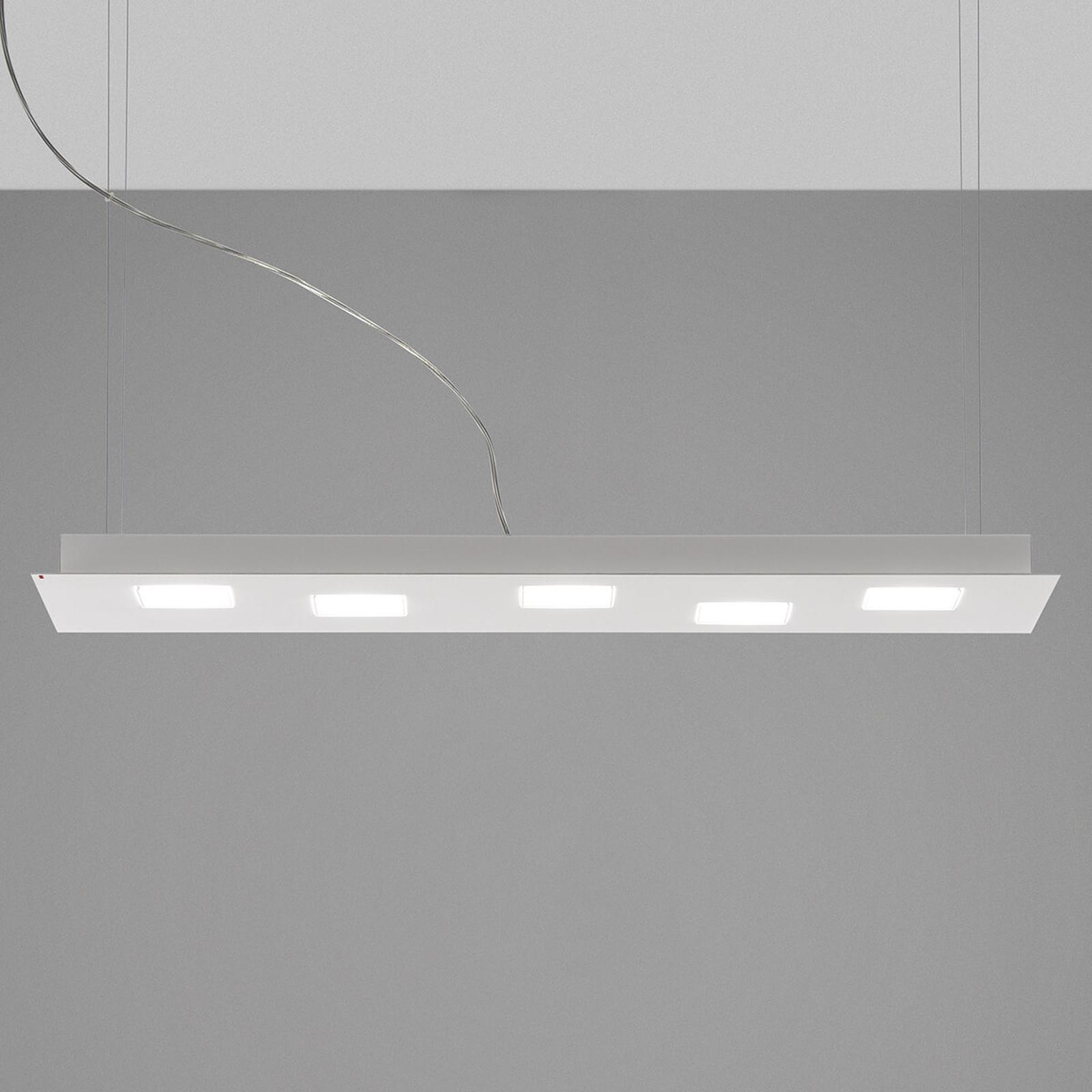 Fabbian Quarter -LED-riippuvalo 5-lamp. valkoinen