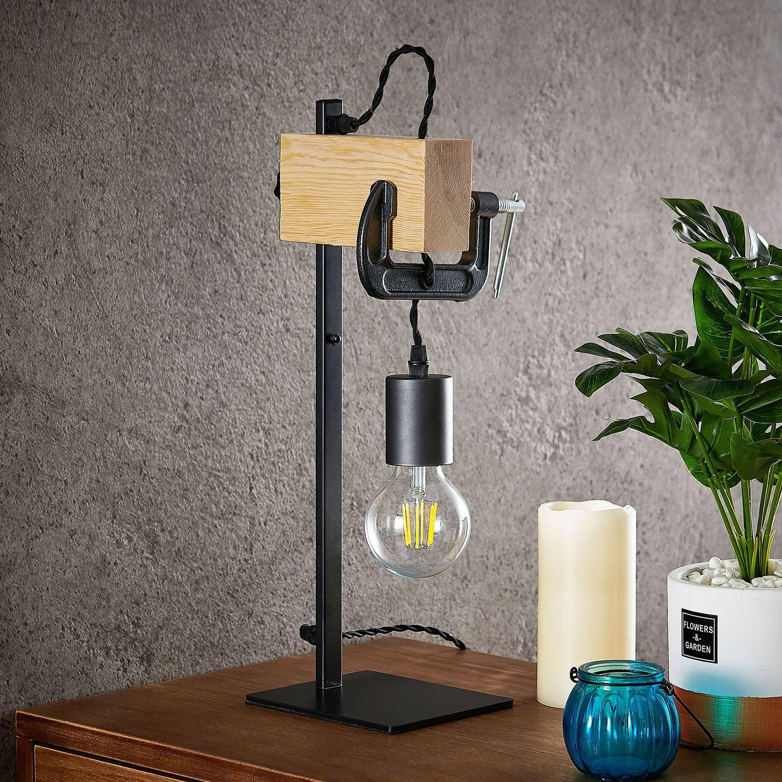 Lindby Asya tafellamp, hout, zwart