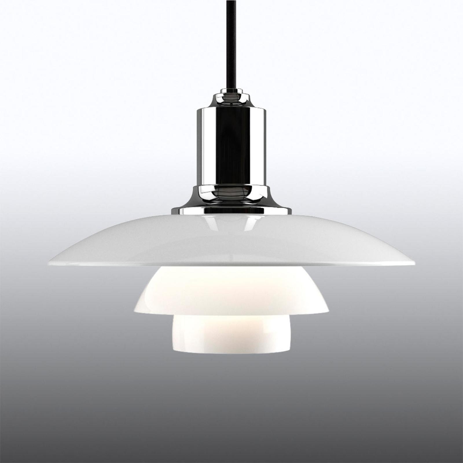 Hanglamp PH 2/1 m. drievoudige glazen kap, chroom