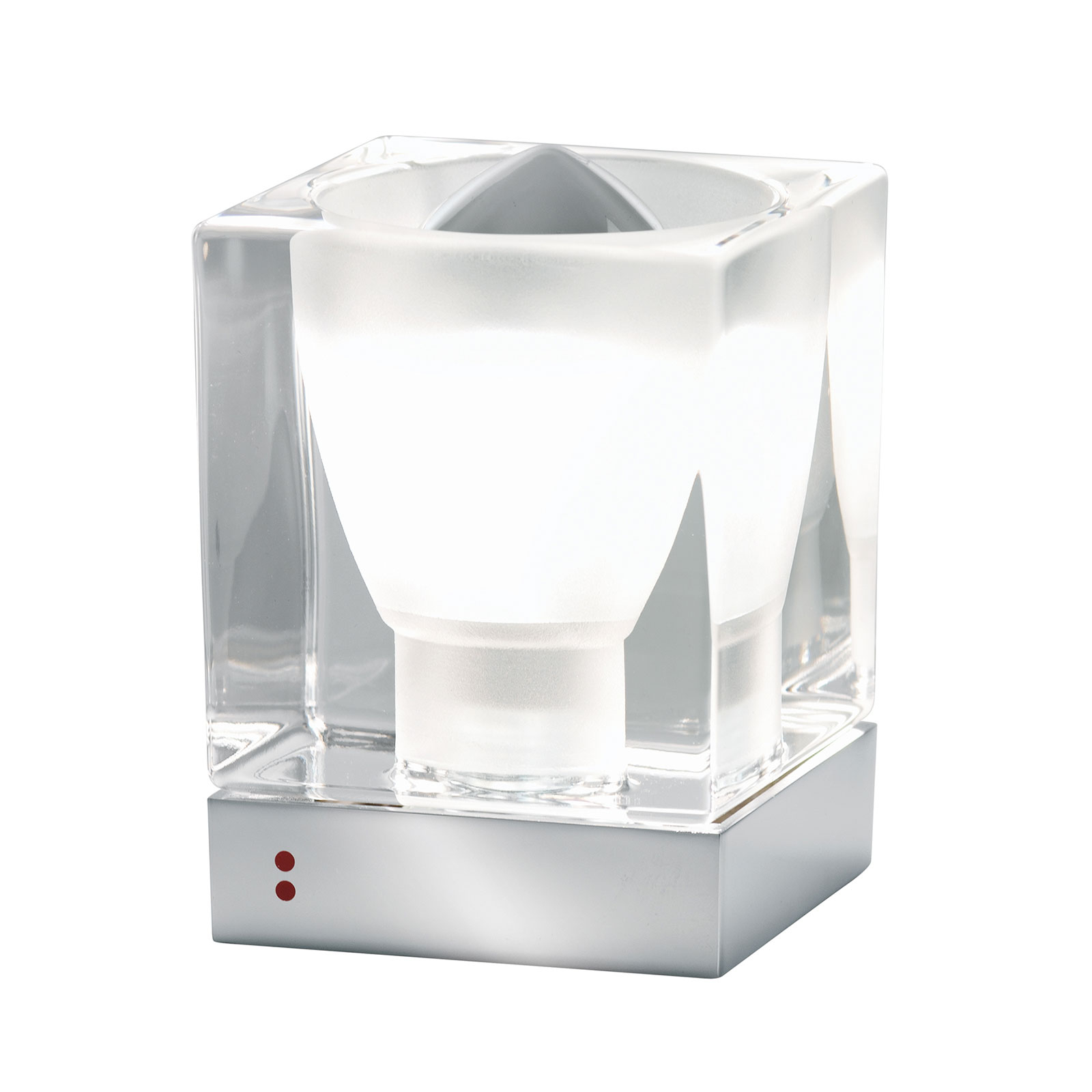 Fabbian Cubetto lampe à poser E14 chromée/transp.