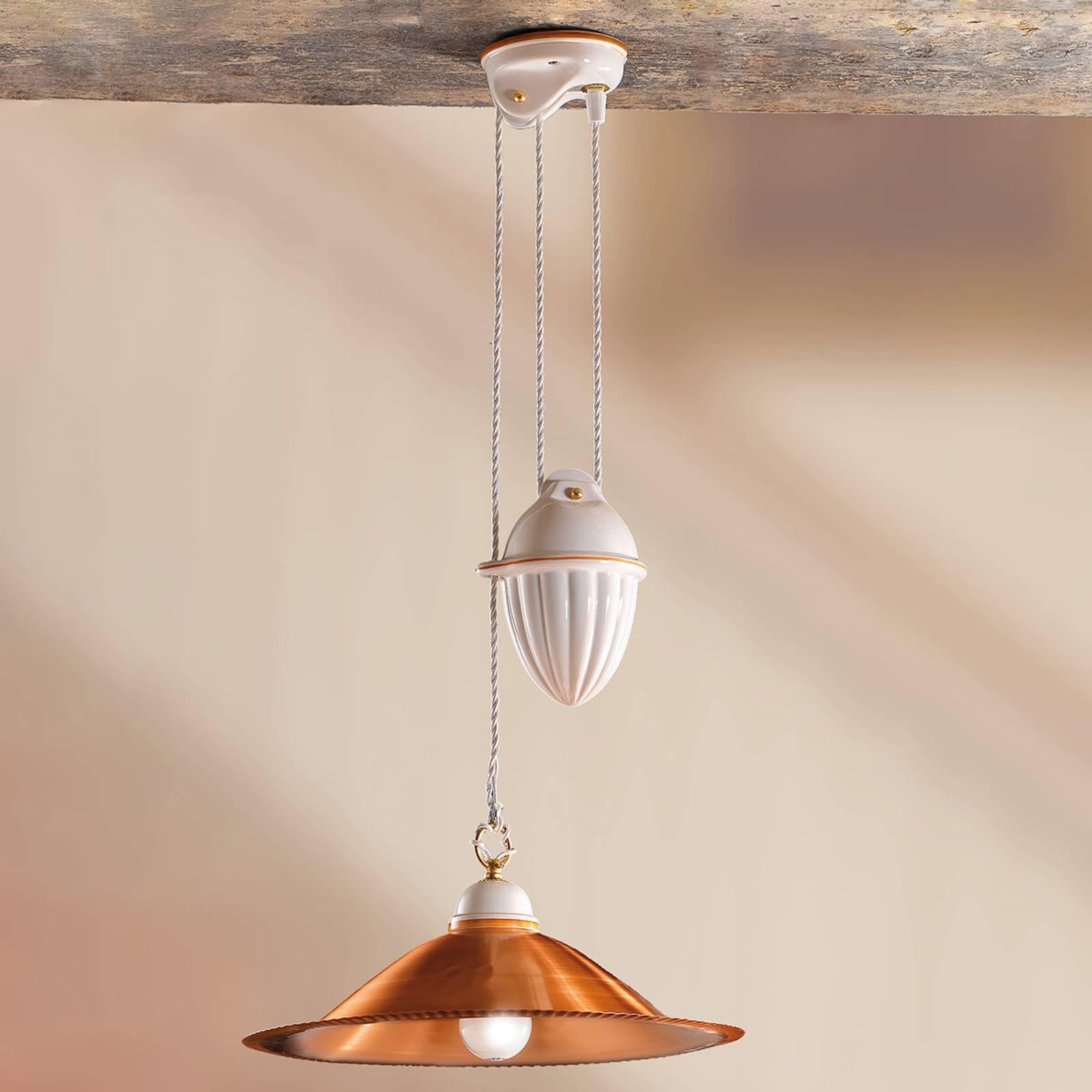 Miedziana lampa wisząca Luiza