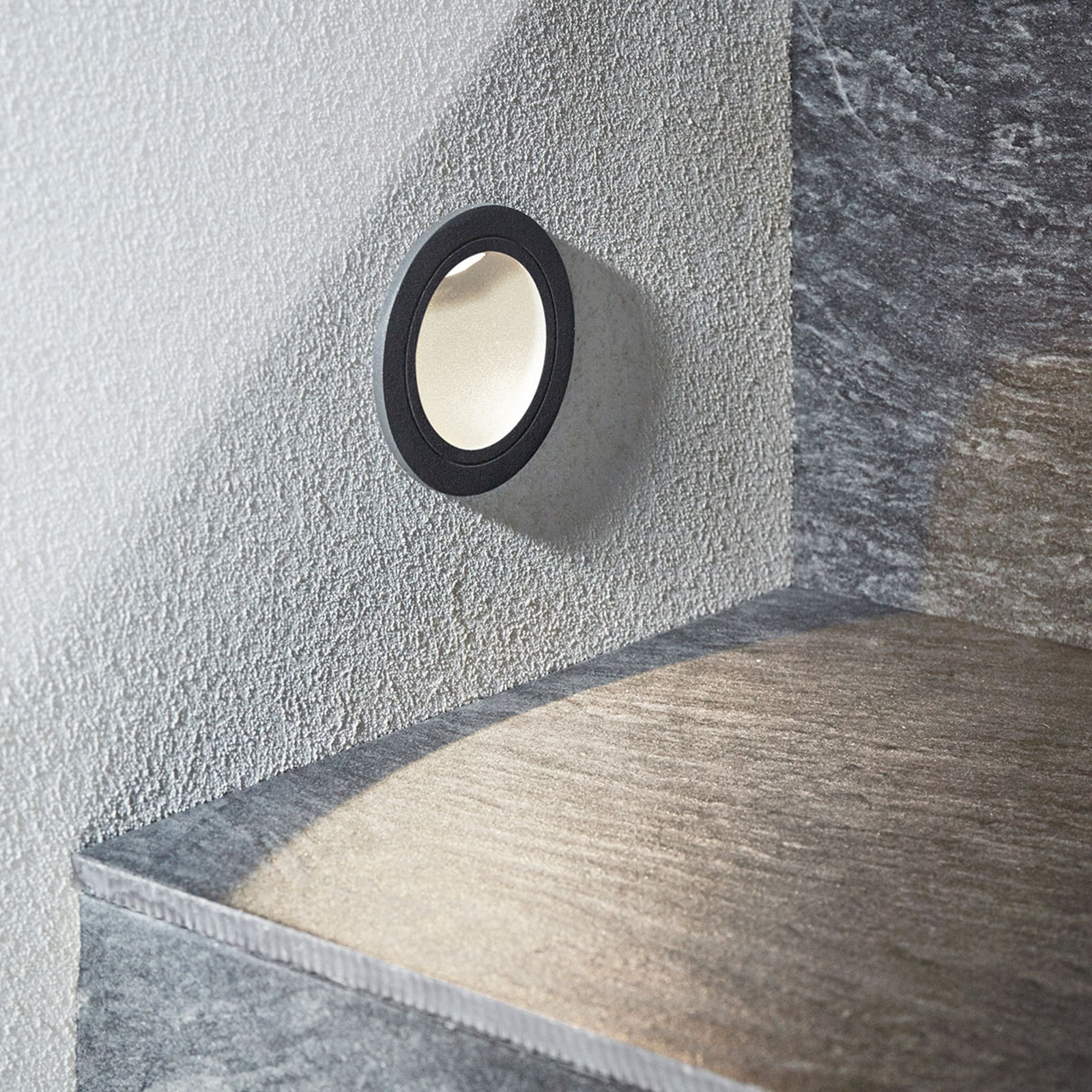 Pordis LED recessed wall light, IP65, round_9969136_1