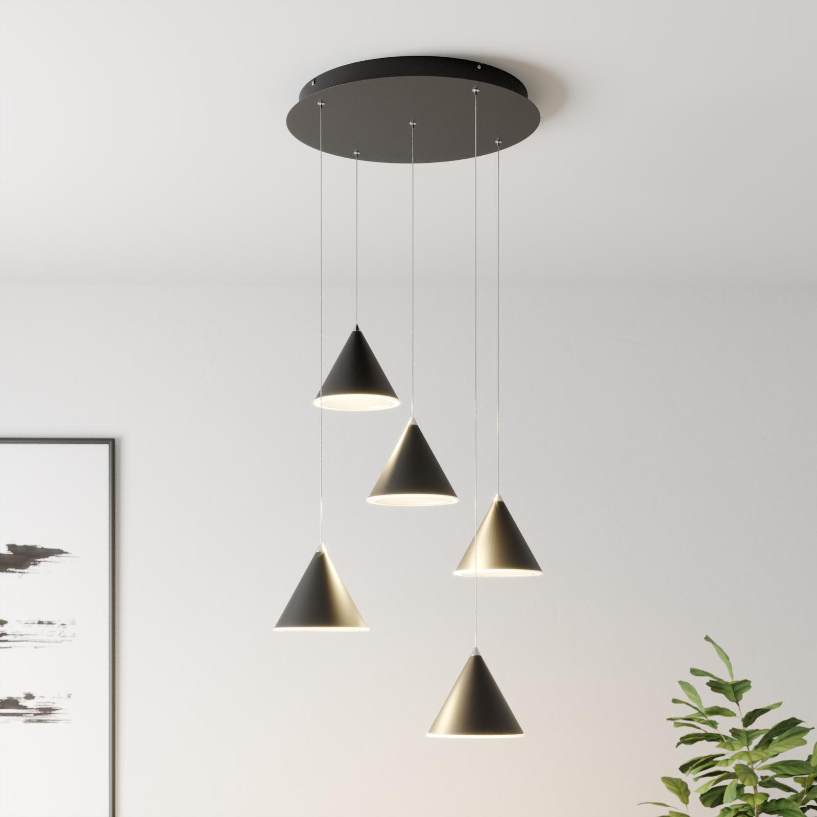 Lucande Livan LED-Hängeleuchte, schwarz, 5-fl.