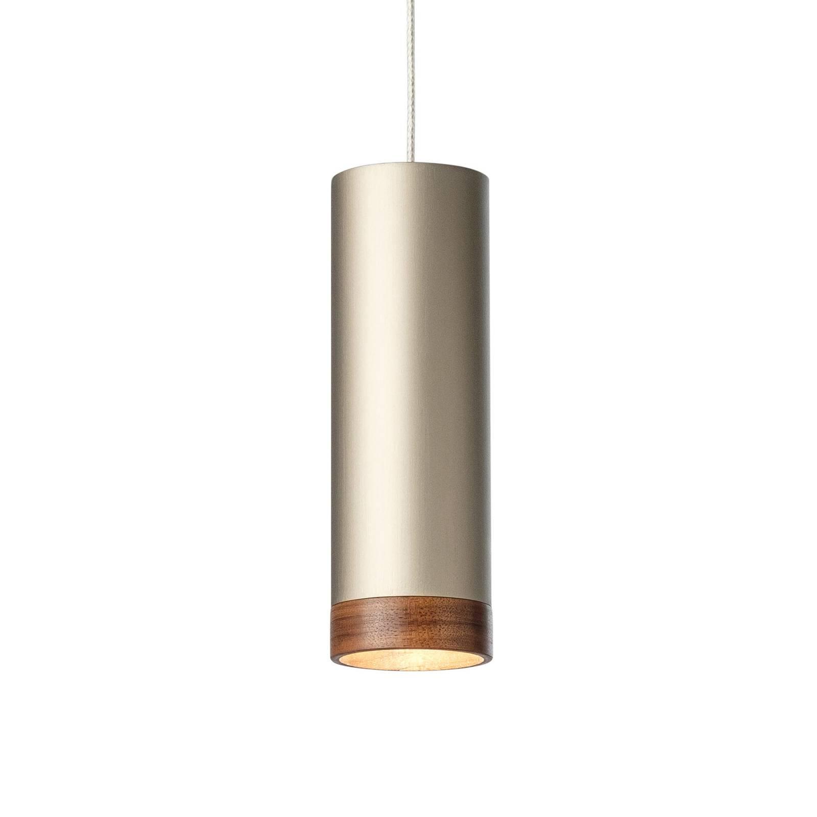Suspension LED PHEB, bronze argenté/noyer