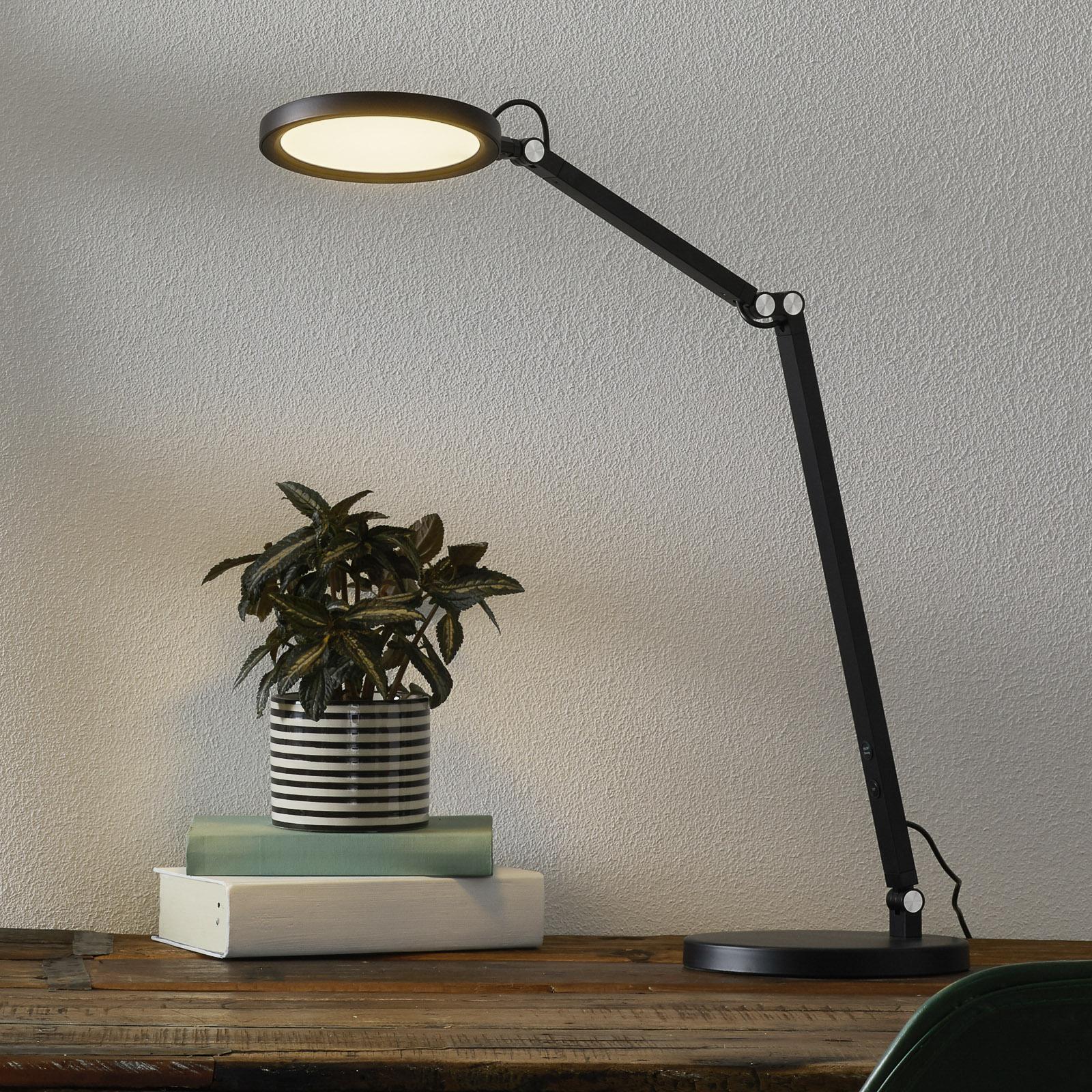 Lampe de bureau LED Regina avec variateur, noire