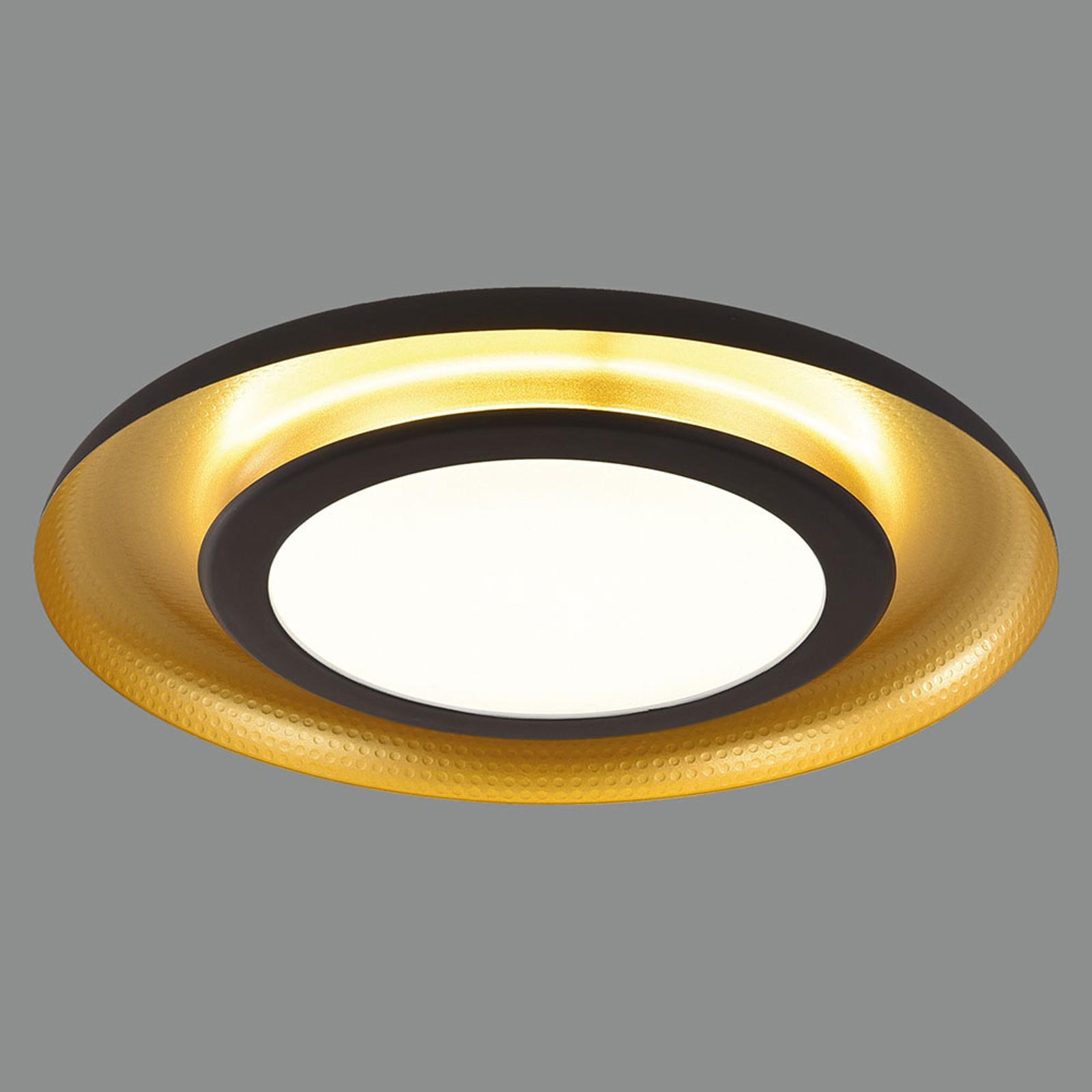 LED-taklampe Shiitake, svart og gull