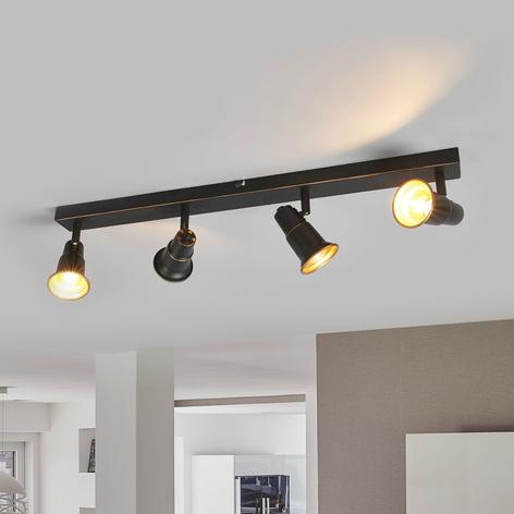 Plafonnier Arielle noir antique, quatre lampes