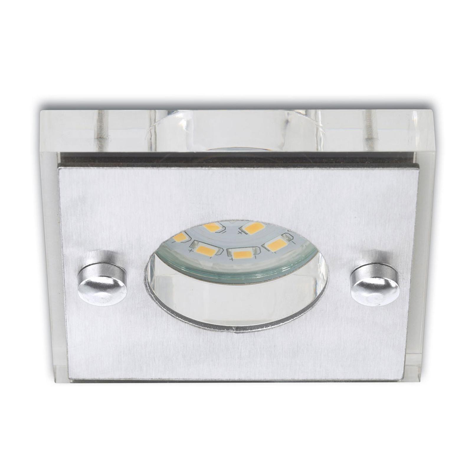 Firkantet - Nikas LED-indbygningsspot, mat nikkel
