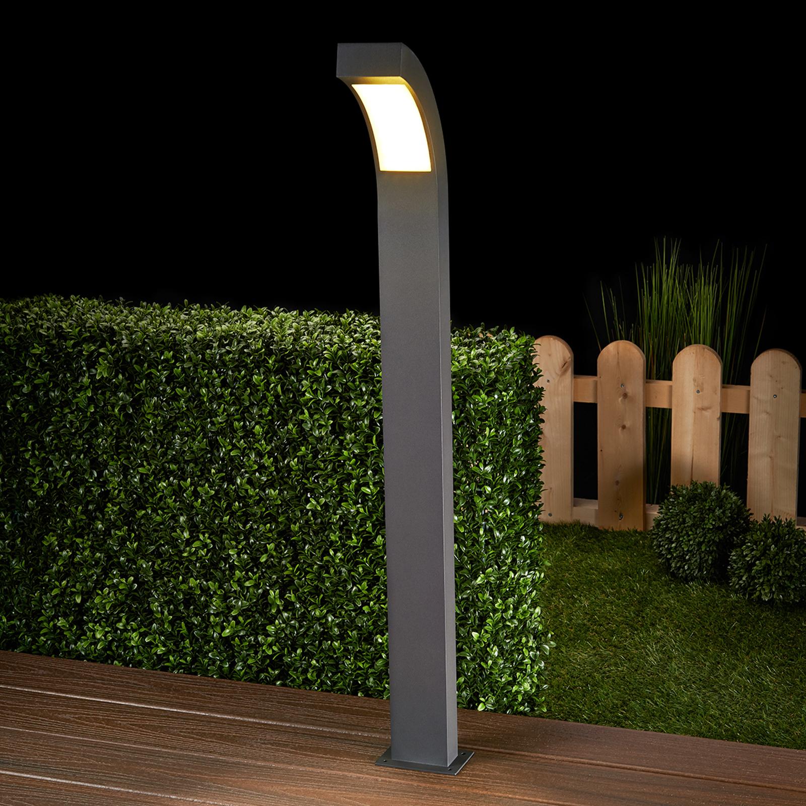 Szaro-grafitowy słupek oświetleniowy LED Lennik