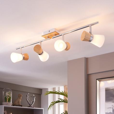 Plafonnier en bois à 4 lampes Vivica