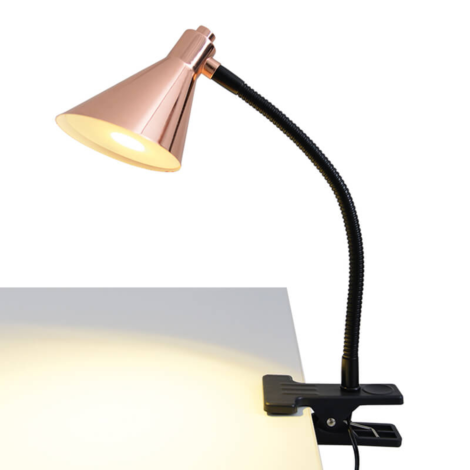 Kupferfarbene LED-Klemmleuchte Janita