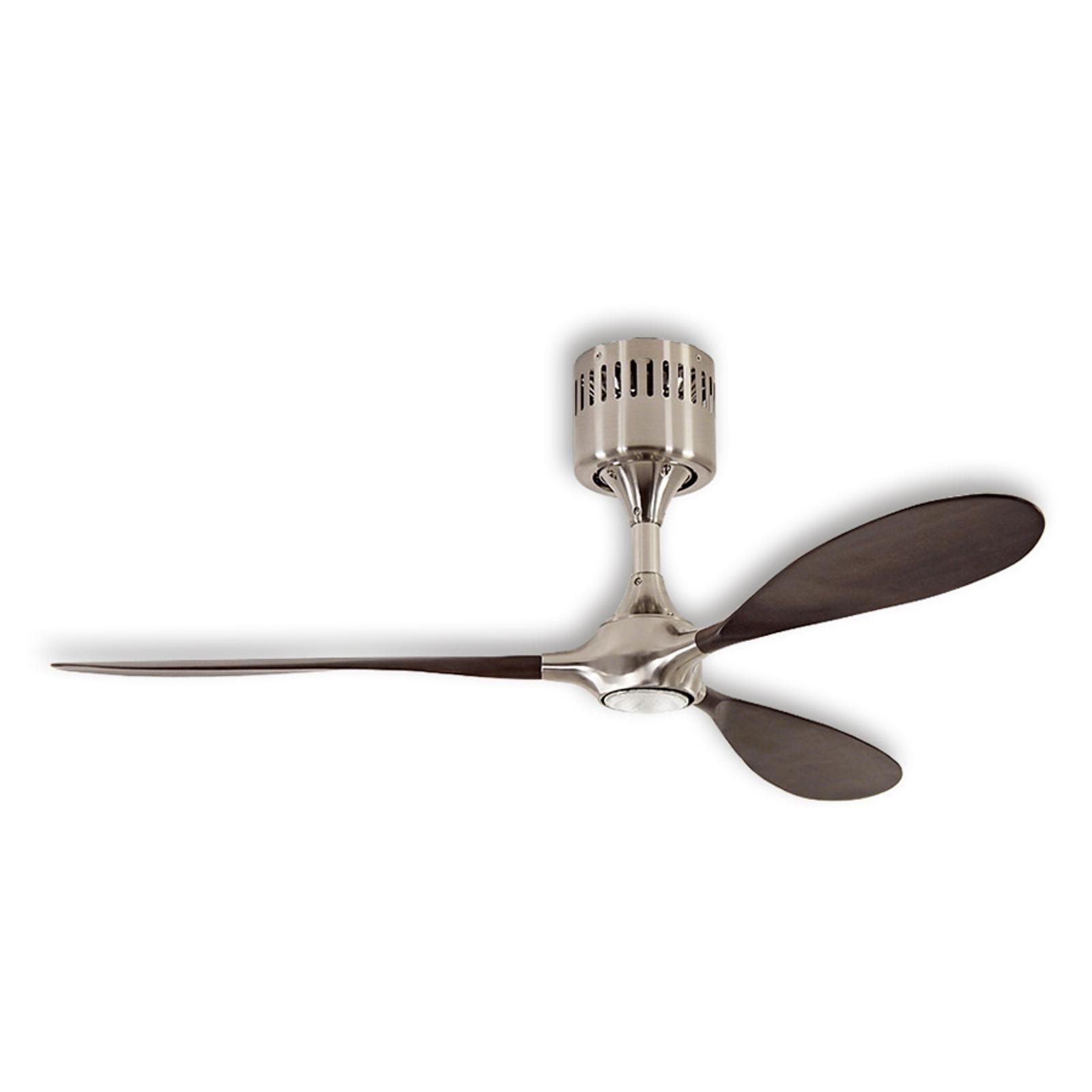 Ventilateur de plafond Helico Paddel, chromé/noyer