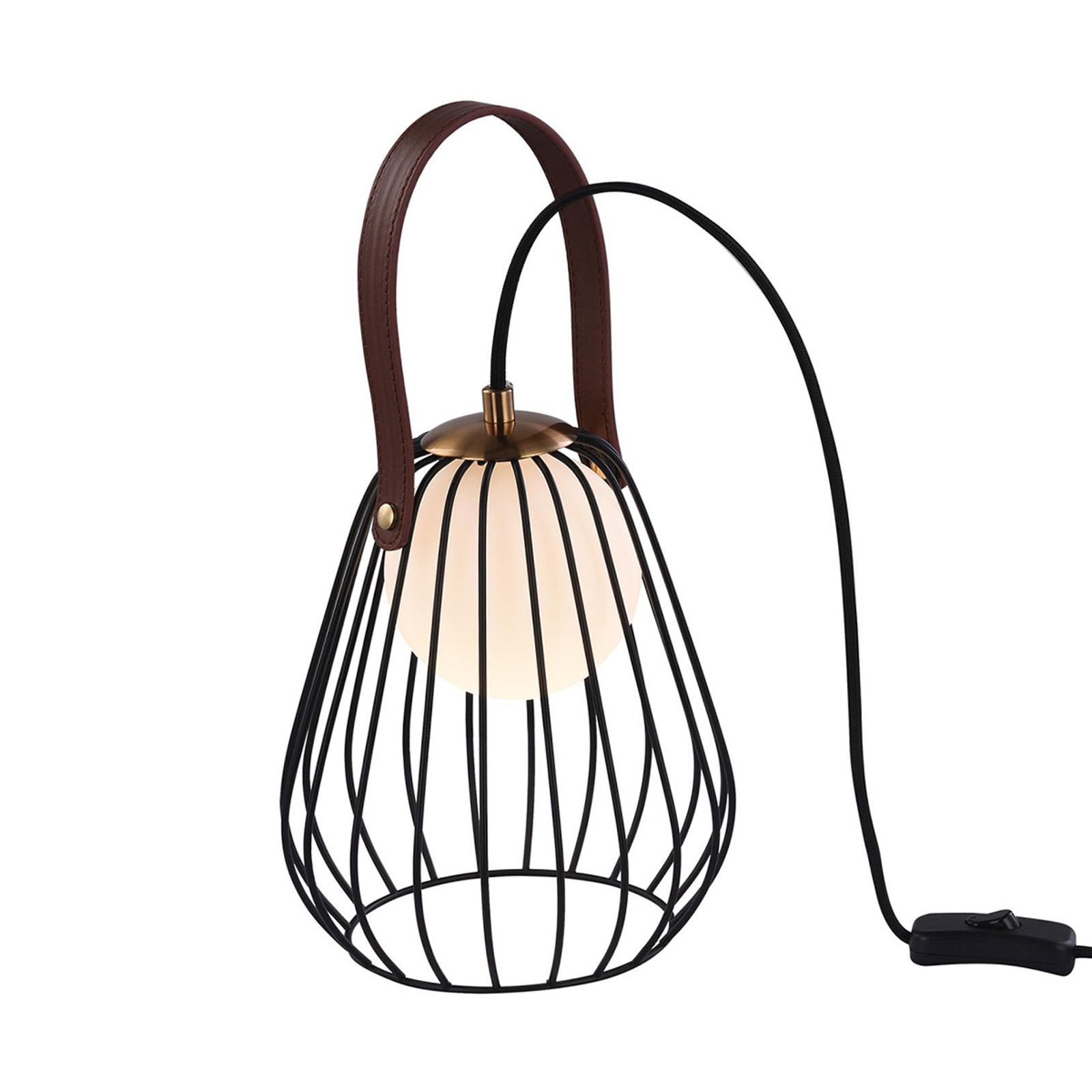 Lampe à poser Indiana avec abat-jour cage noir