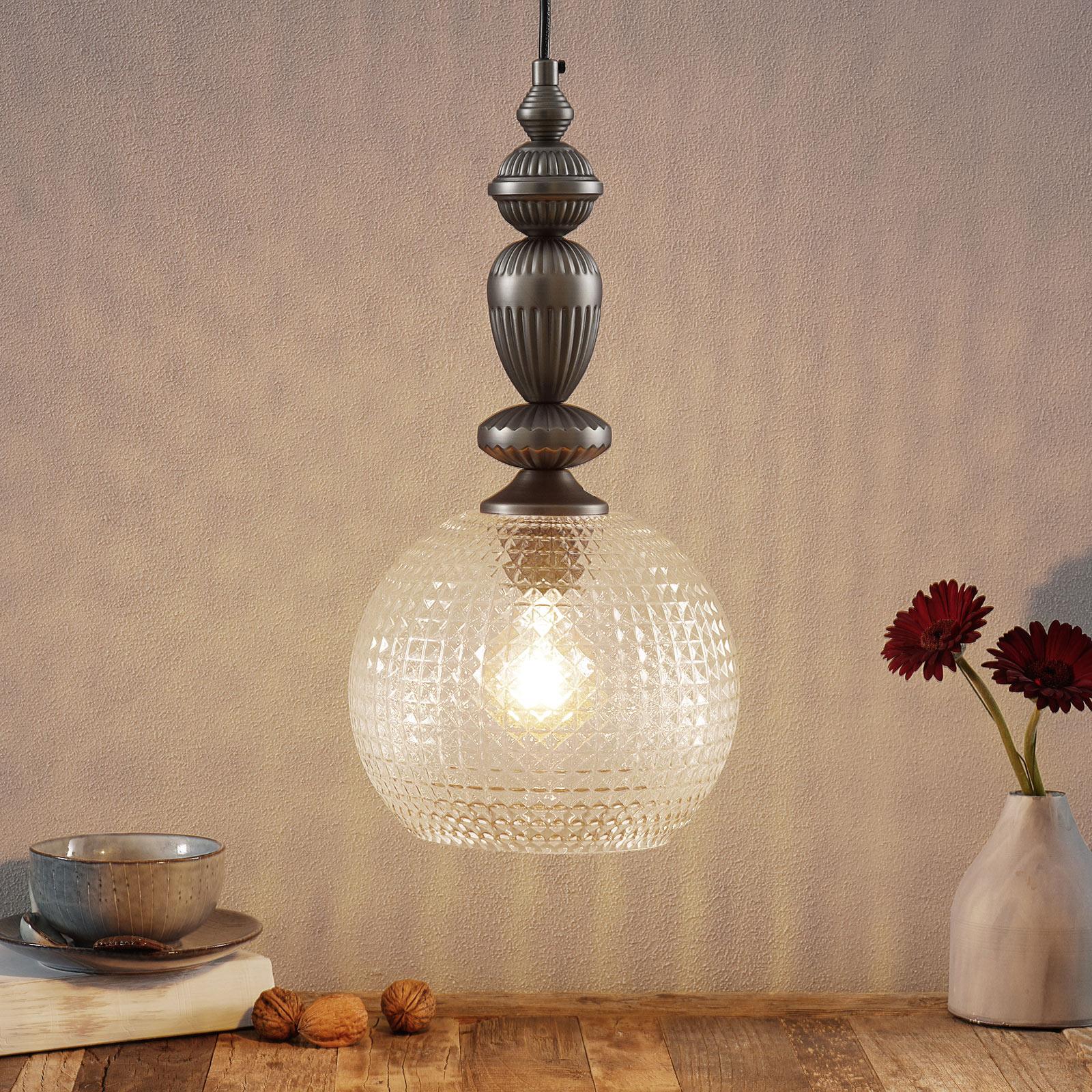 Talisa - pendellampe med dekorativ glasskjerm