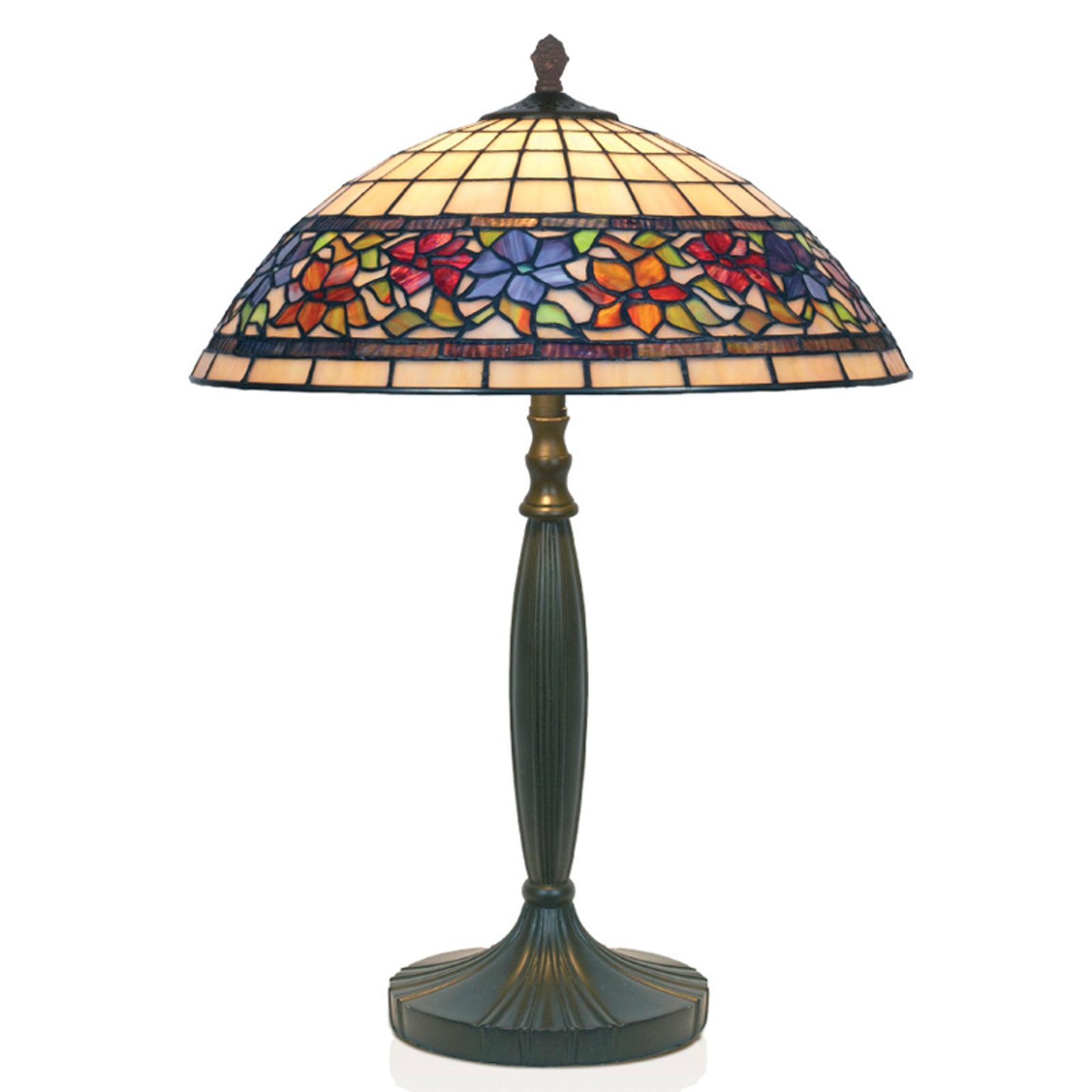 Lámpara de mesa Flora, Tiffany, abierto abajo 62cm