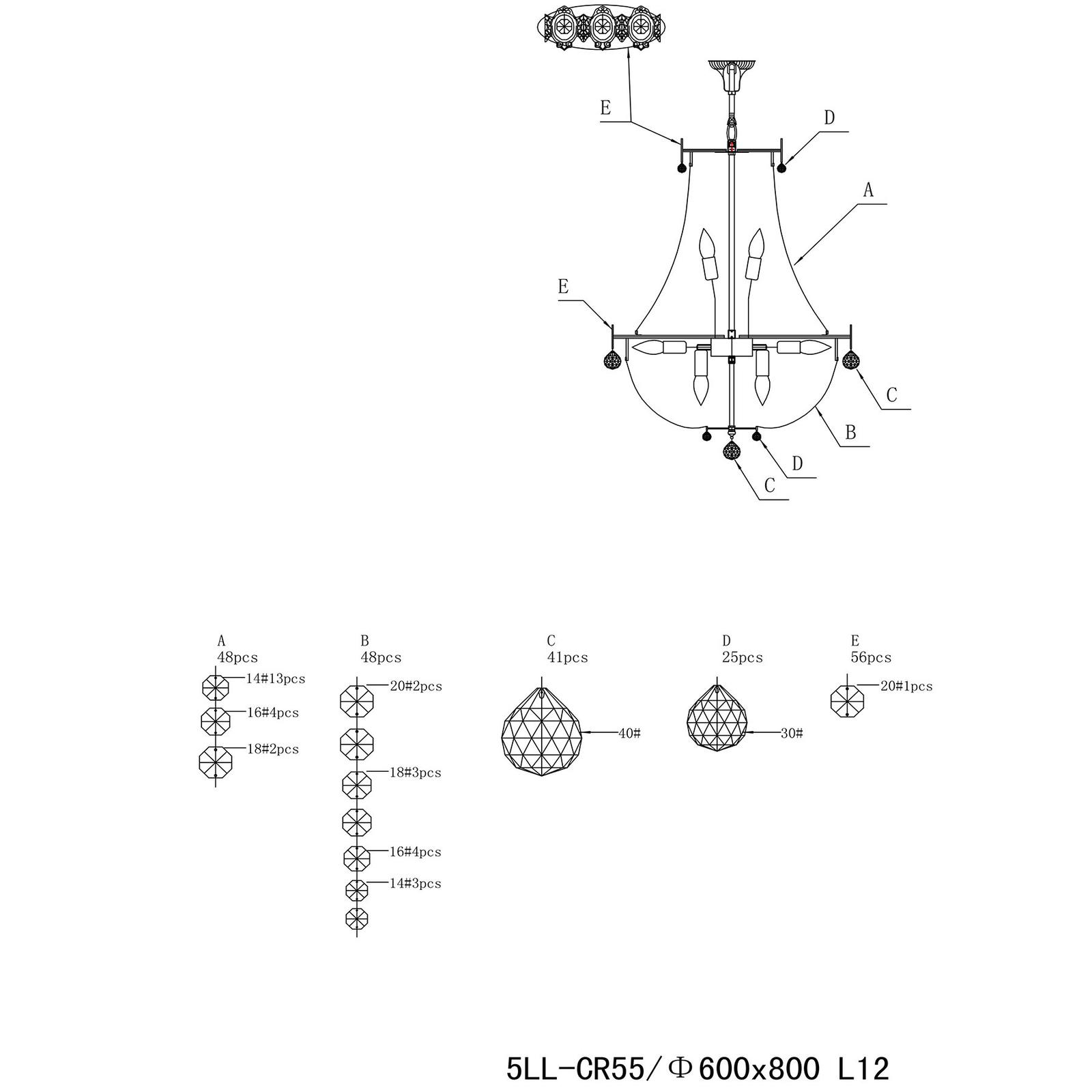Żyrandol CR55, 12-punktowy, szklane ozdoby