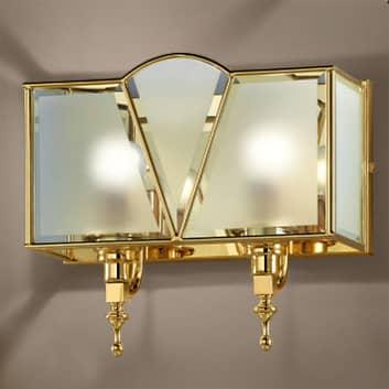 Classic vegglampe i gull med to lys