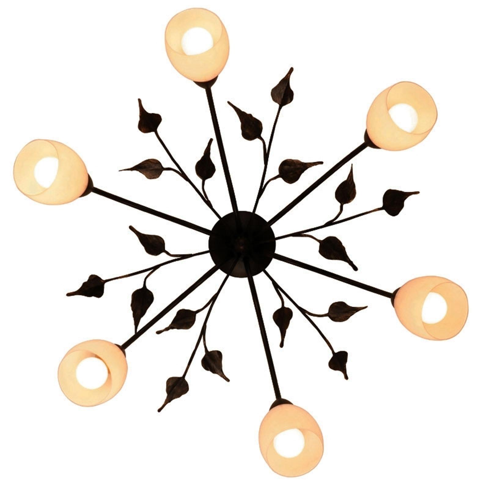 Floral plafondlampa CHALEET med tulpanglaskupor