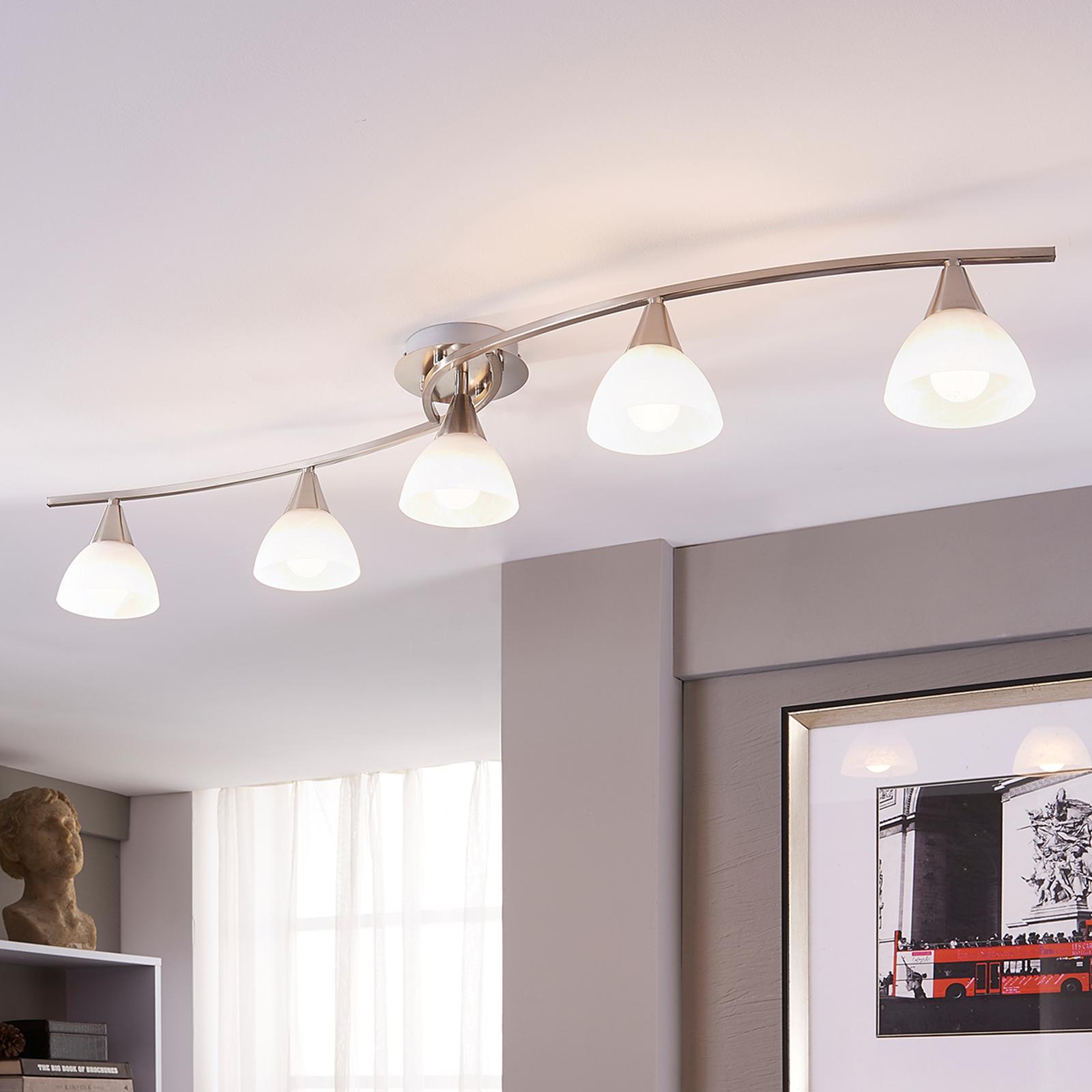 5-punktowa lampa sufitowa LED Della, matowy nikiel