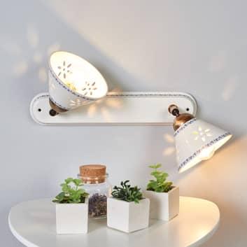 Væglampe NONNA i hvid keramik, med 2 lyskilder