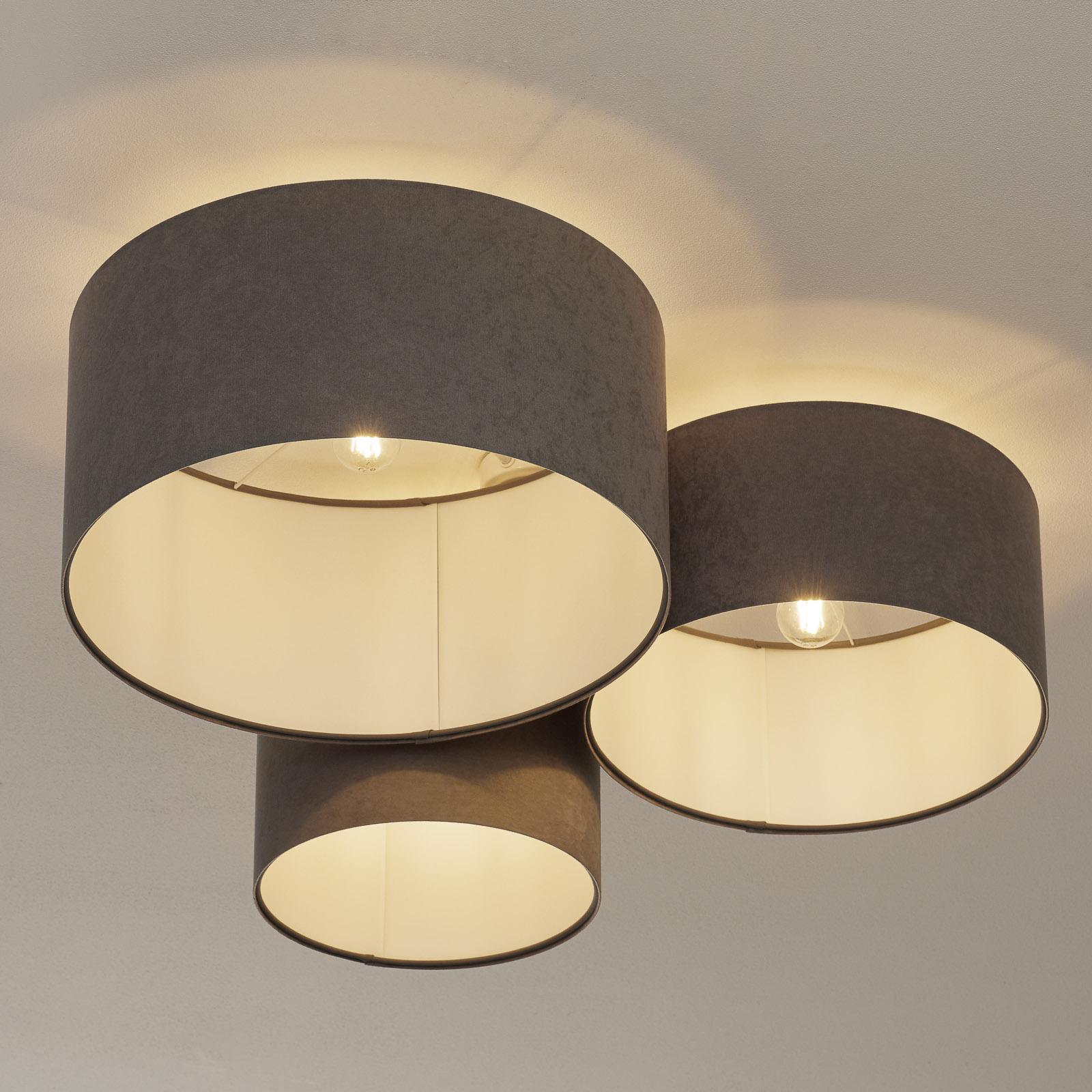 Taklampe 080, 3 lyskilder, lysegrå-hvit