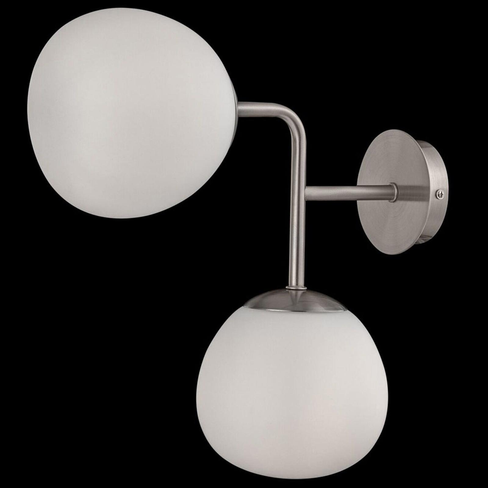 Wandlamp Erich in nikkel met twee glazen kappen