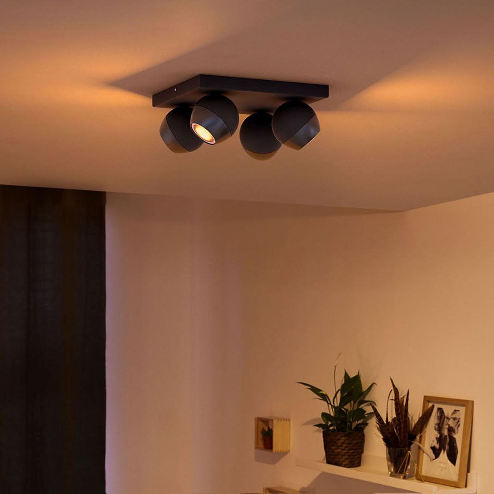 Philips Hue Buckram 4 lyskilder, dæmper, sort
