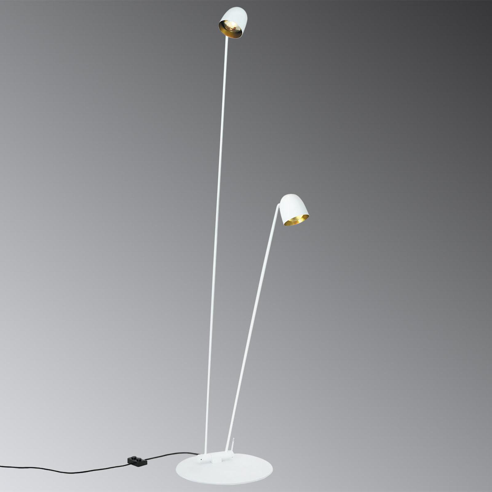 Hvit LED-gulvlampe Speers F fleksibel justerbar