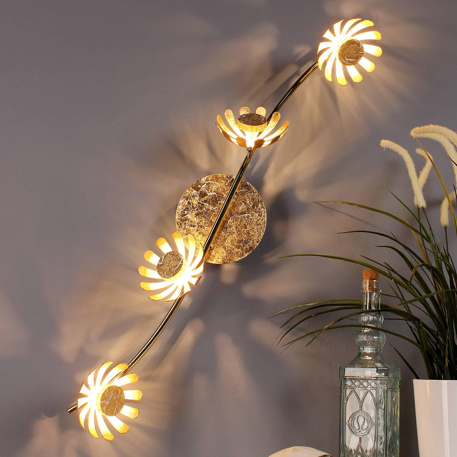 LED-wandlamp Bloom 4-lamps goud