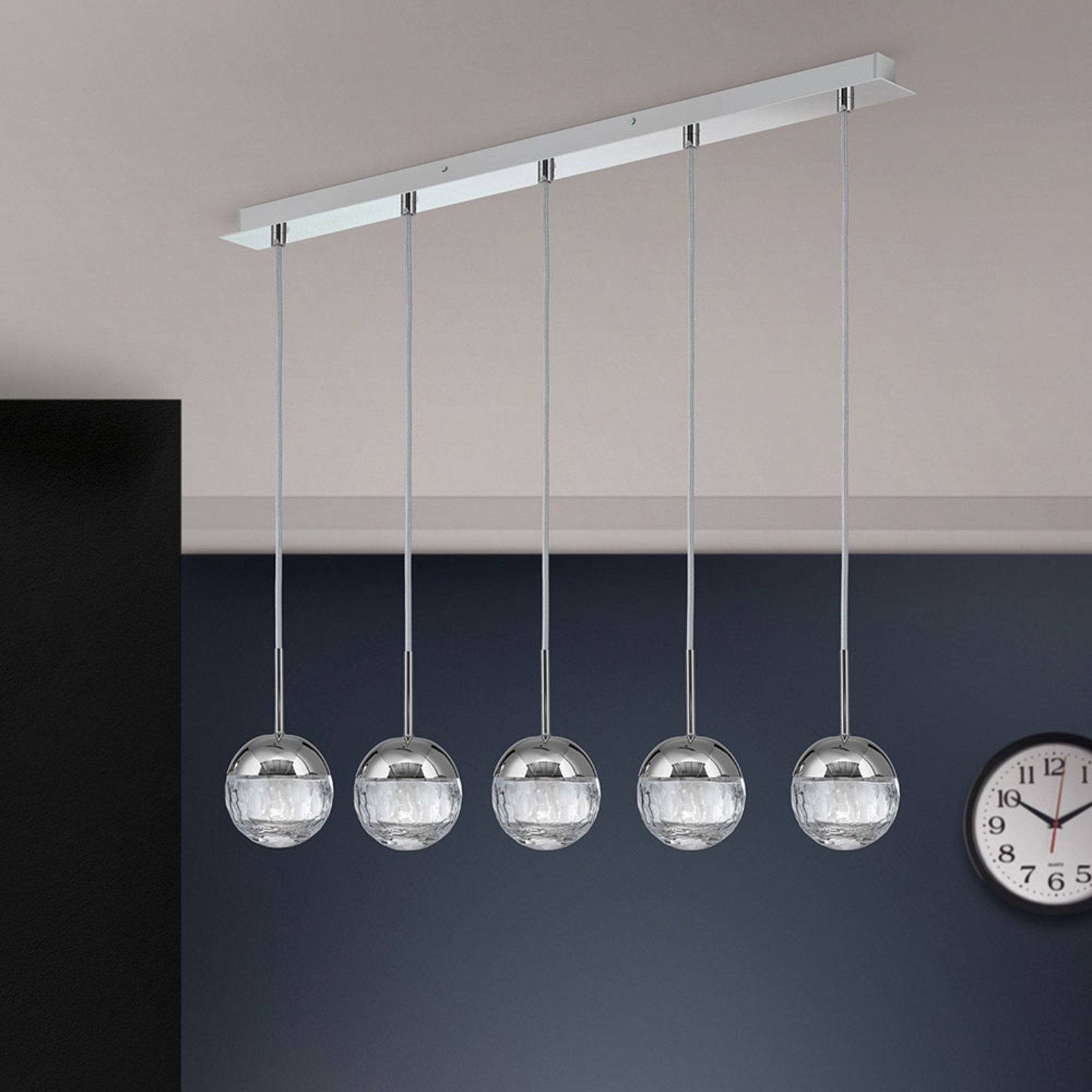 LED hanglamp Ball, 5-lamps, nikkel/zilver