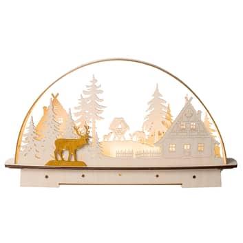 Świecznik LED domek w lesie, zasilane bateriami